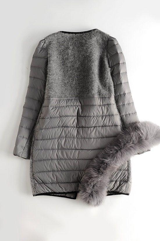 Болоньевое пальто на меховой подстежке