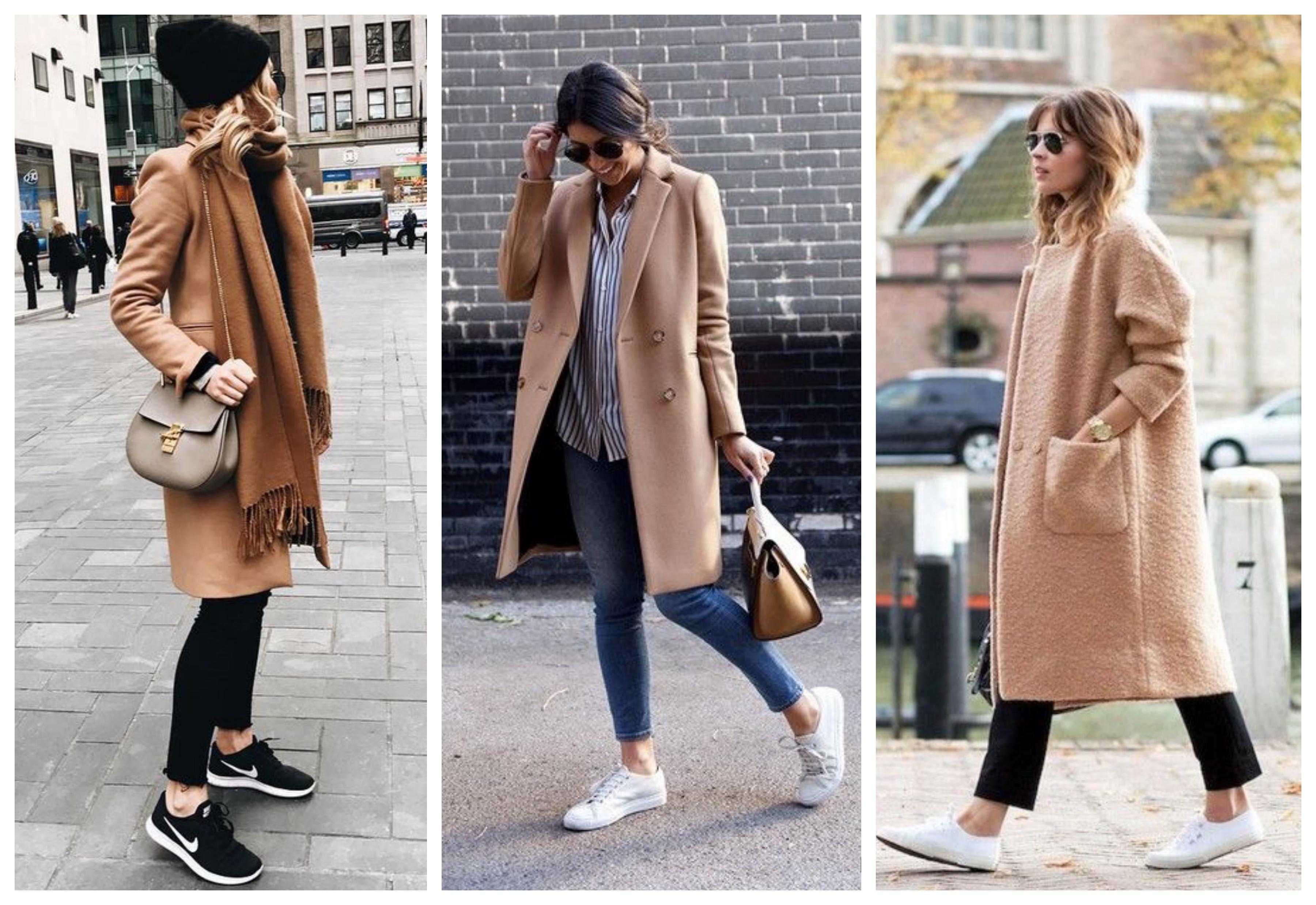 бежевое пальто с кроссовками
