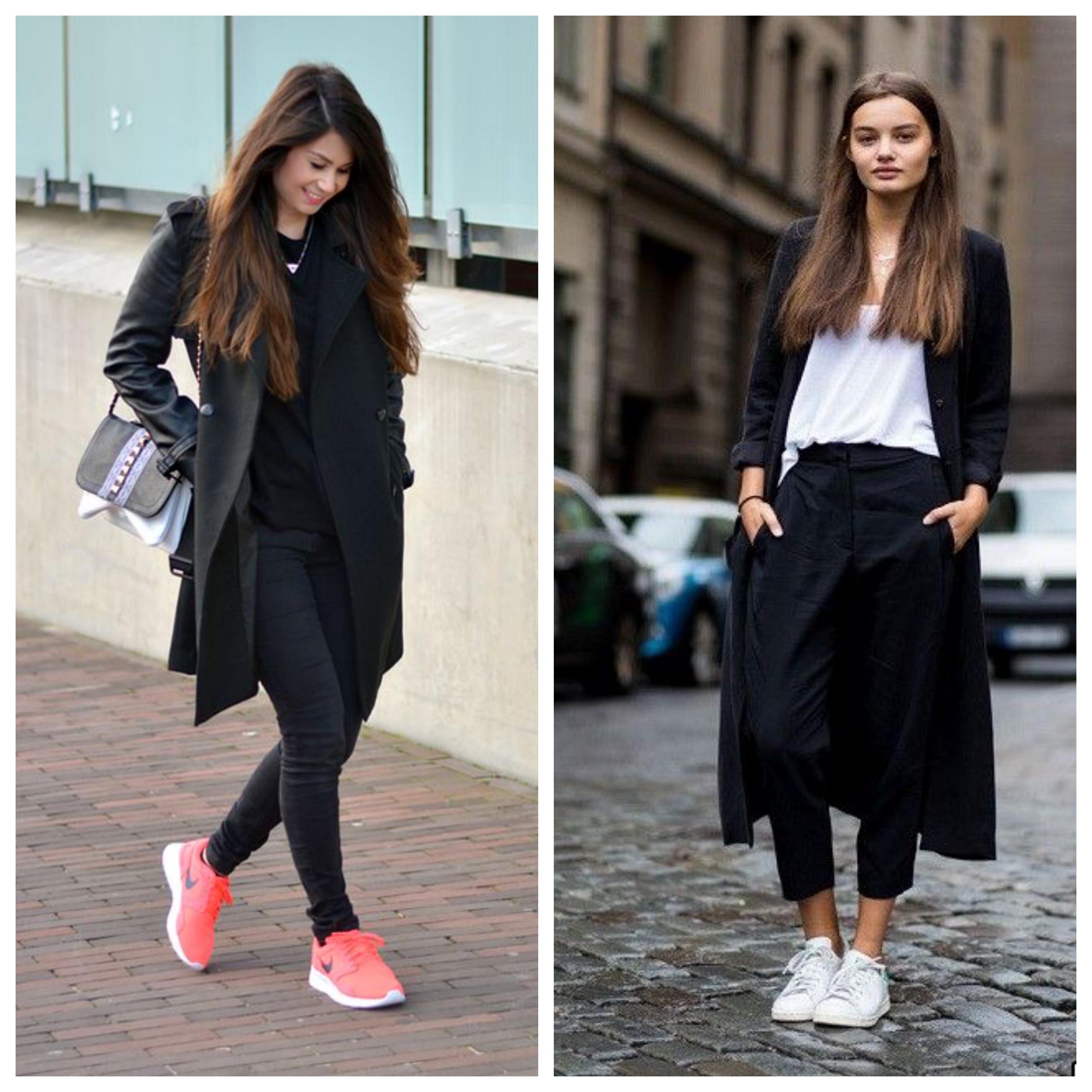 Черное пальто с кроссовками