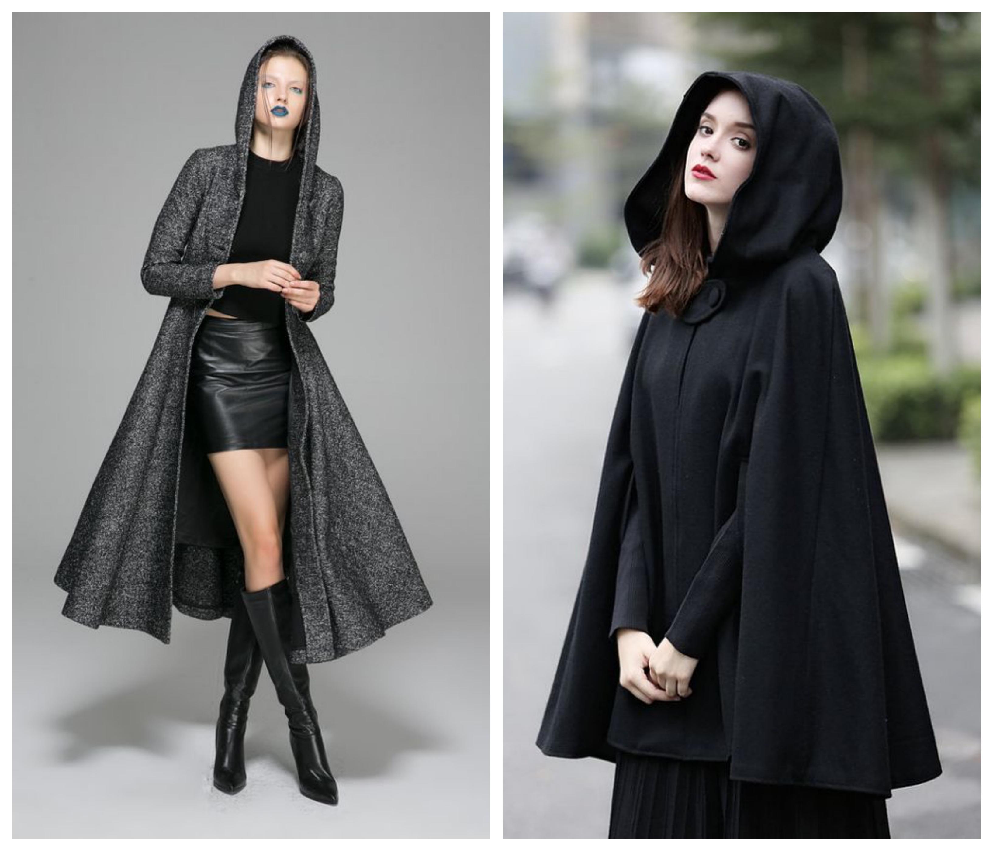 Драповое пальто с капюшоном