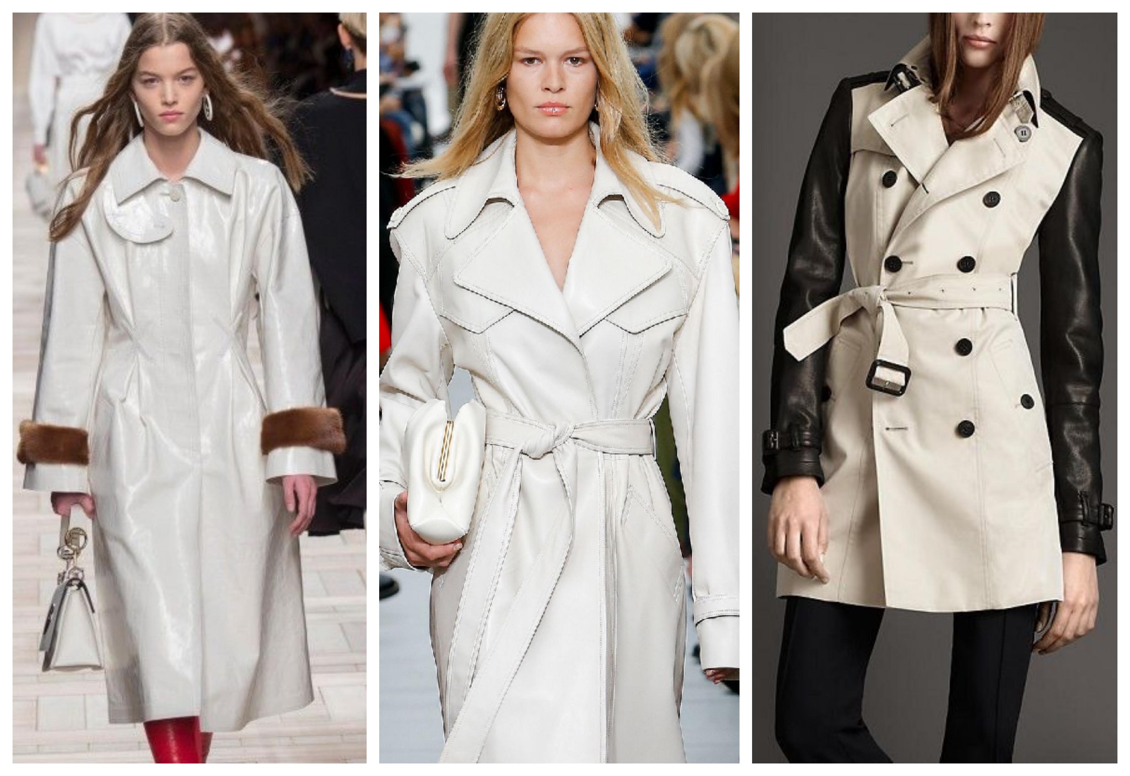 Белое женское кожаное пальто