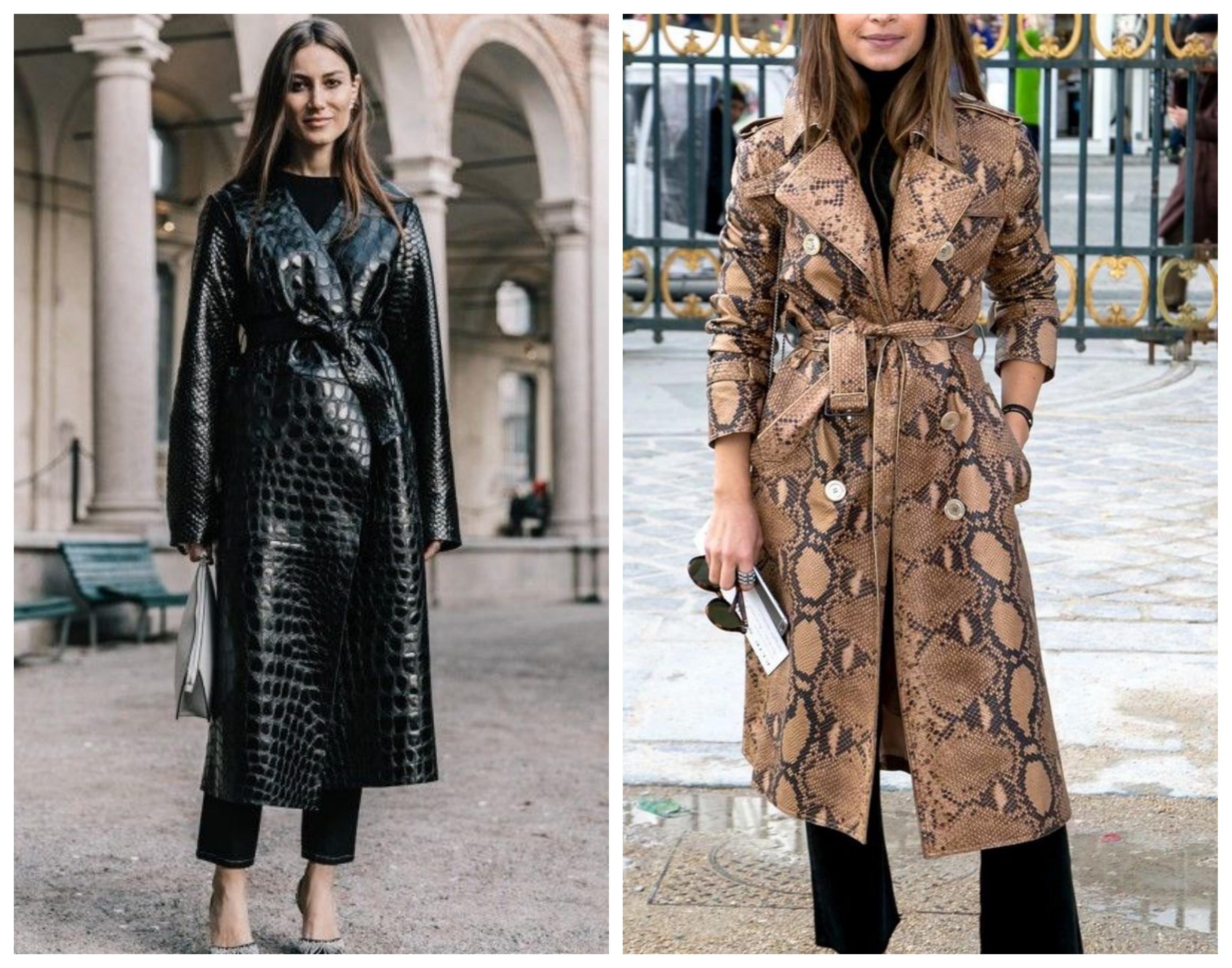 Кожаное женское пальто из питона