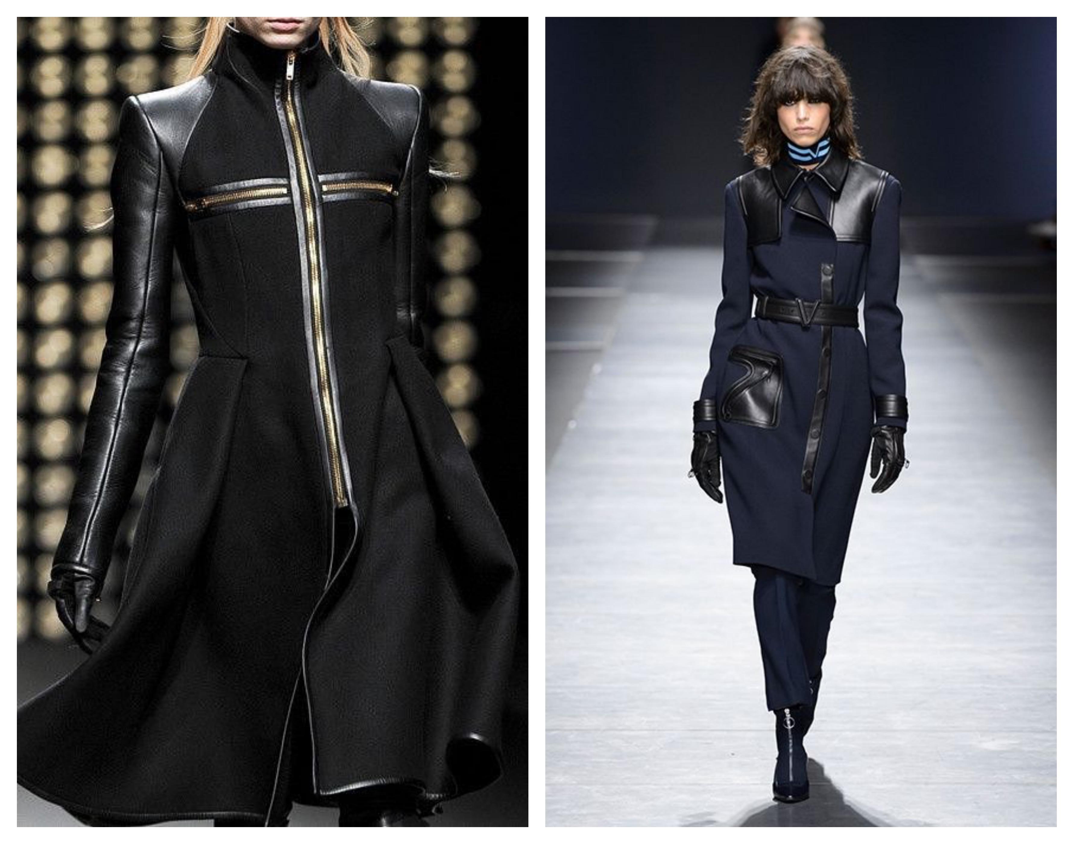 Комбинированное кожаное женское пальто