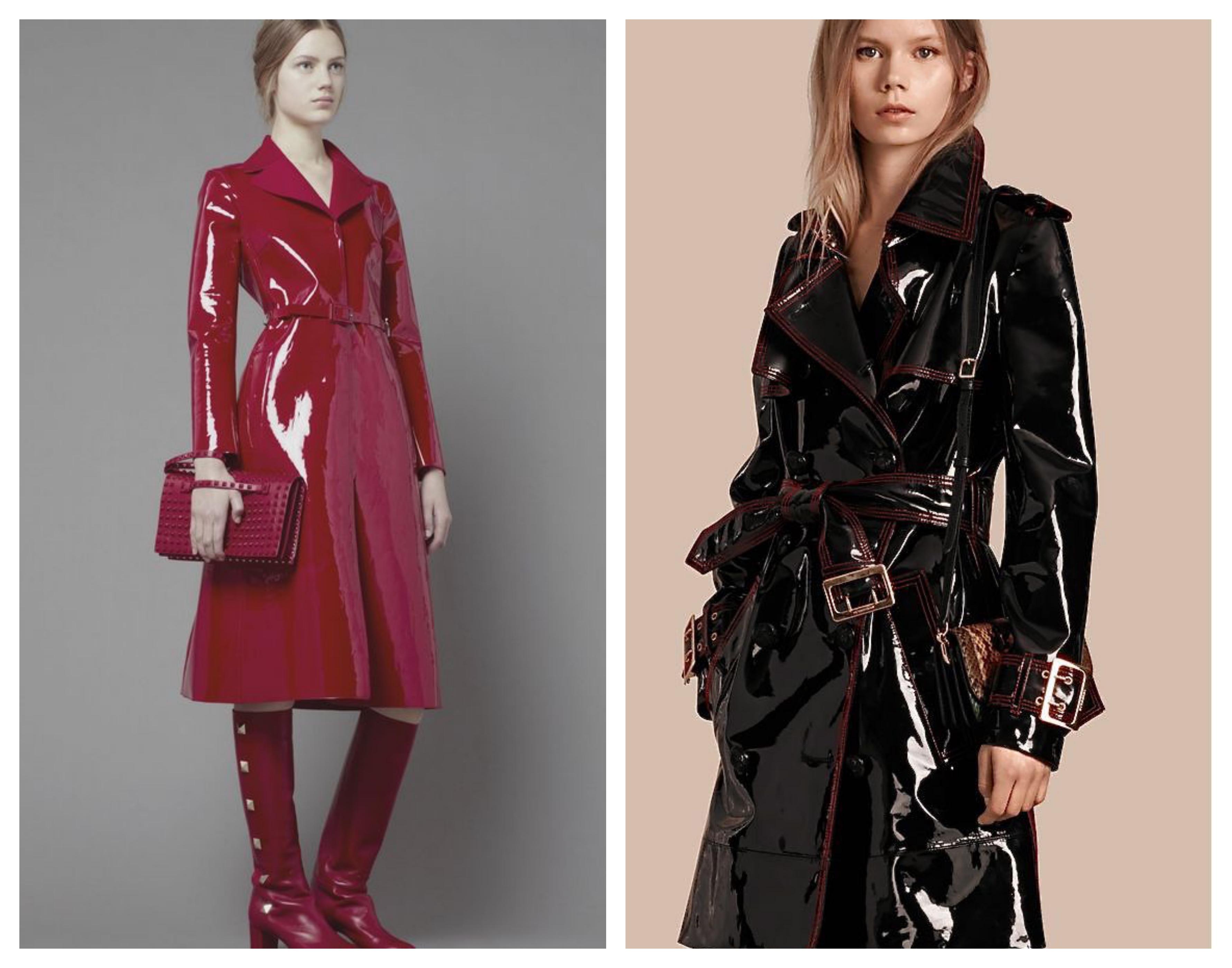 Лаковое кожаное пальто