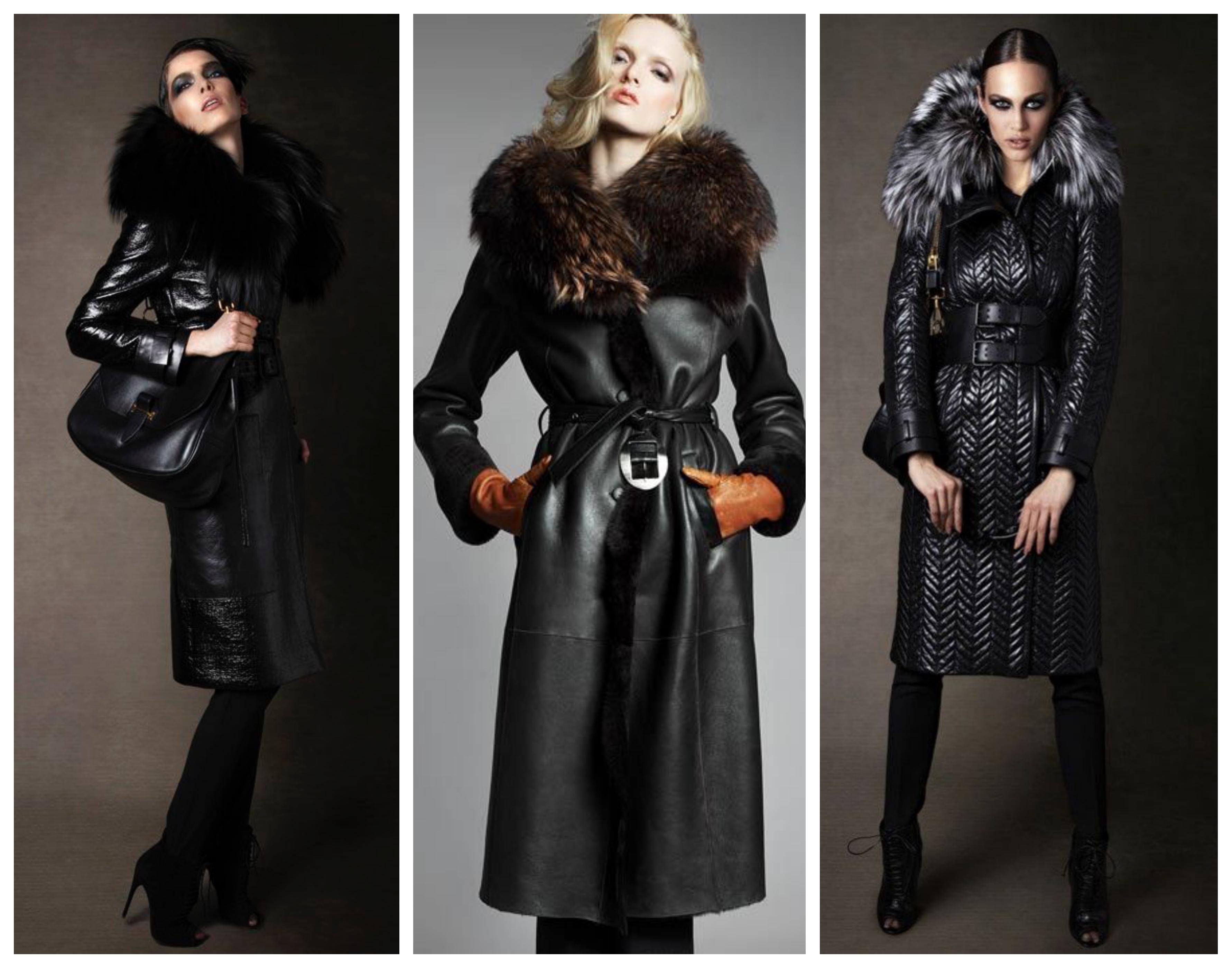 Зимнее женское кожаное пальто с мехом