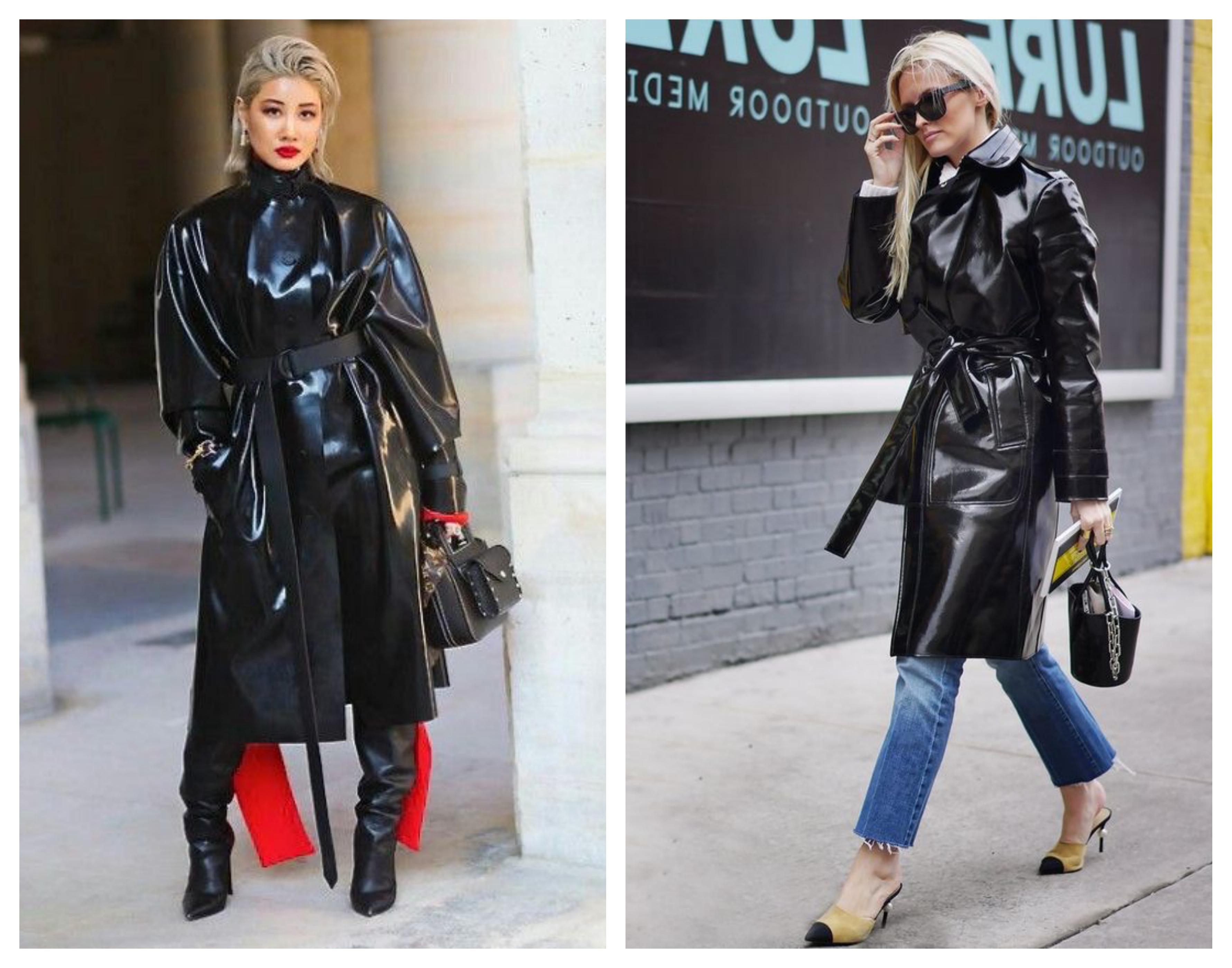 Лаковое женское пальто