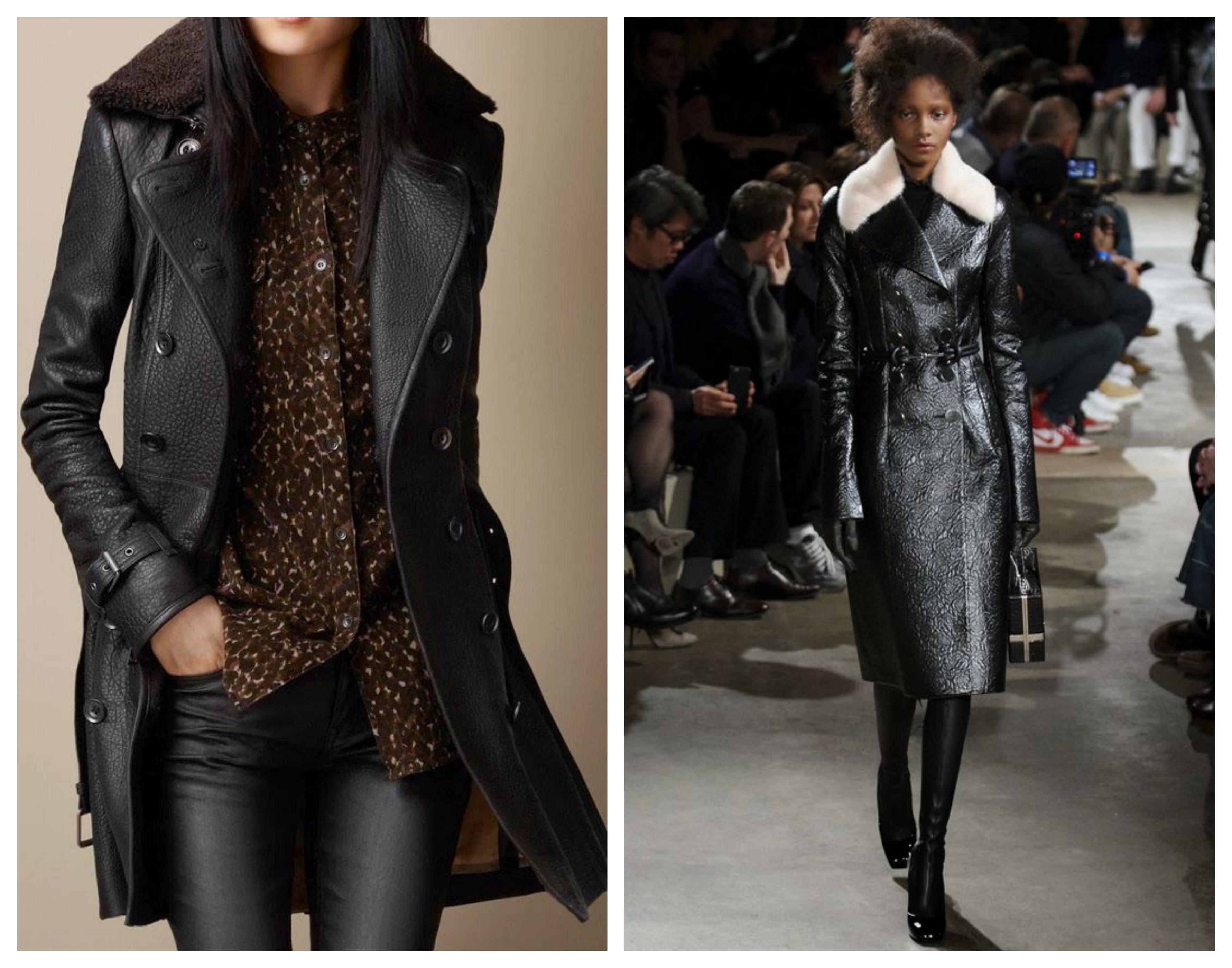 Кожаное женское пальто на овчине