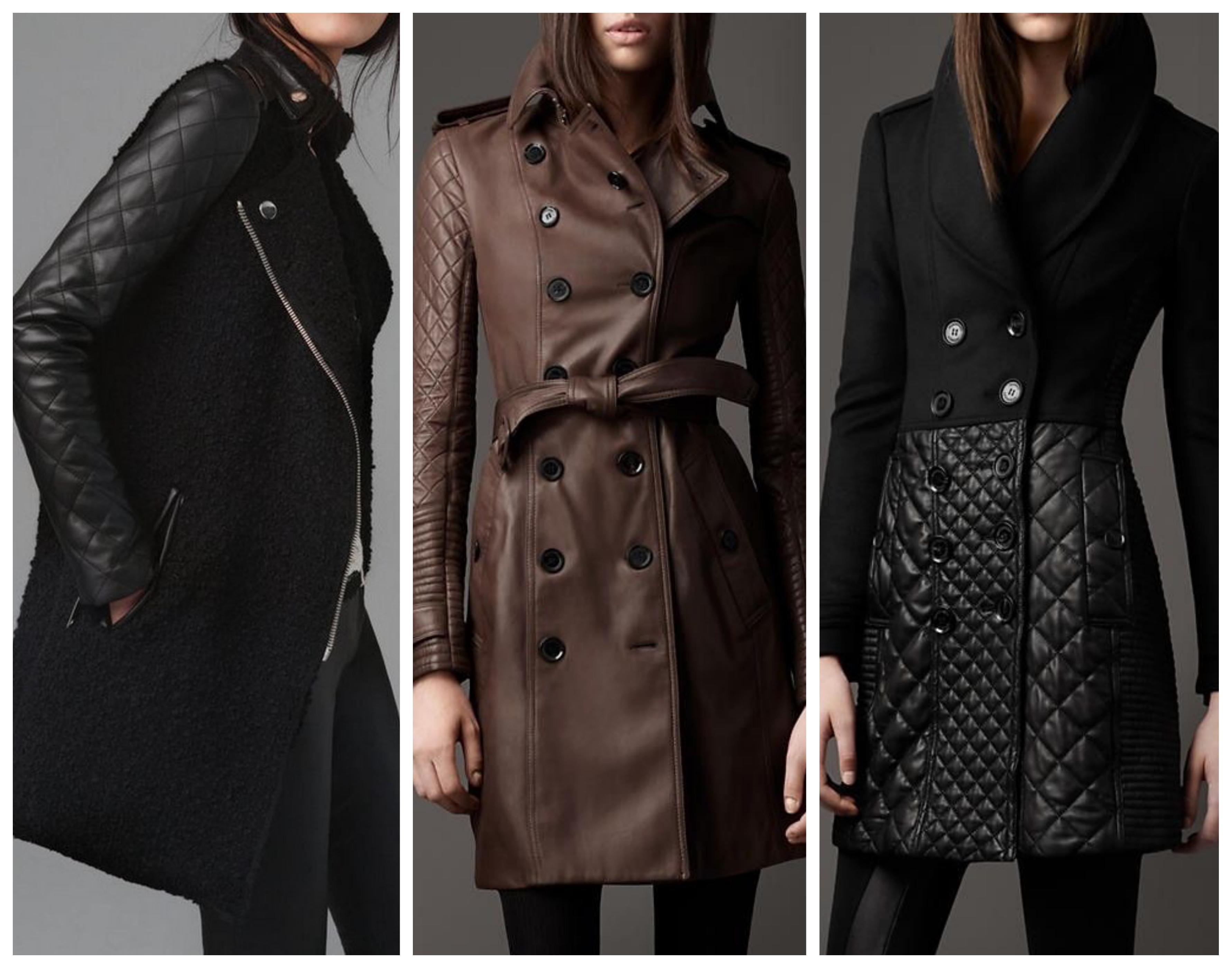 Стеганое женское кожаное пальто
