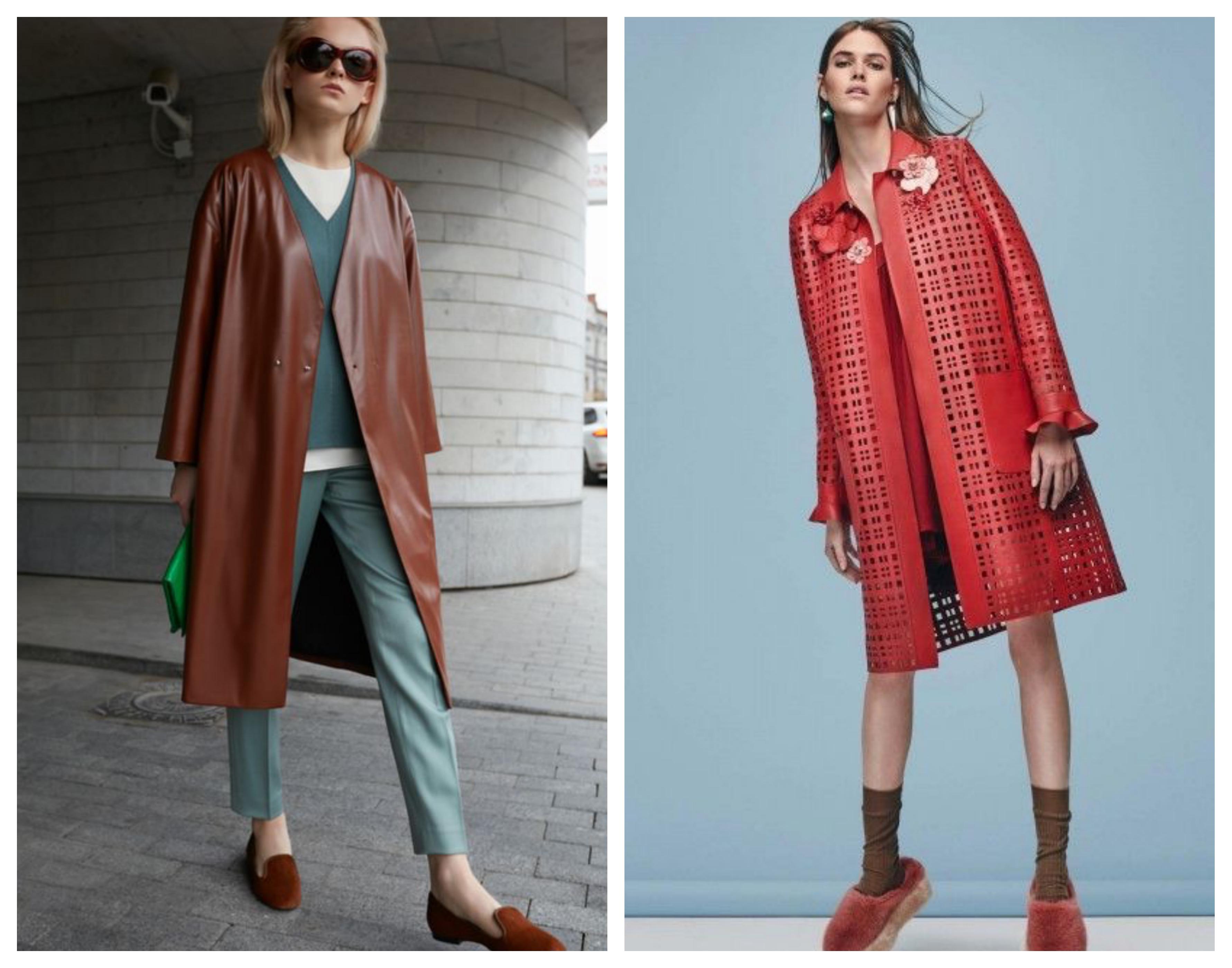 Модное кожаное женское пальто