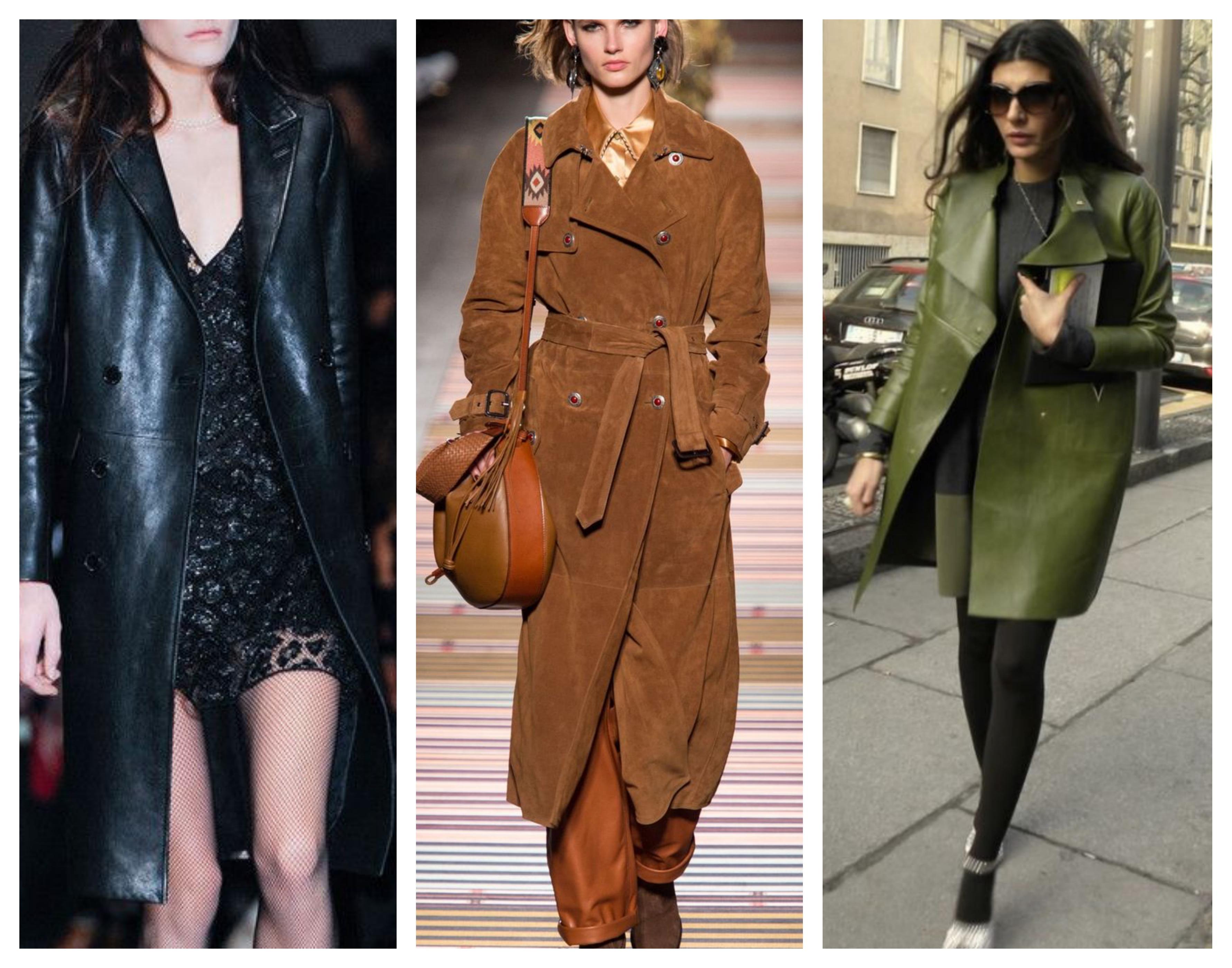 Кожаное женское пальто _модный лук