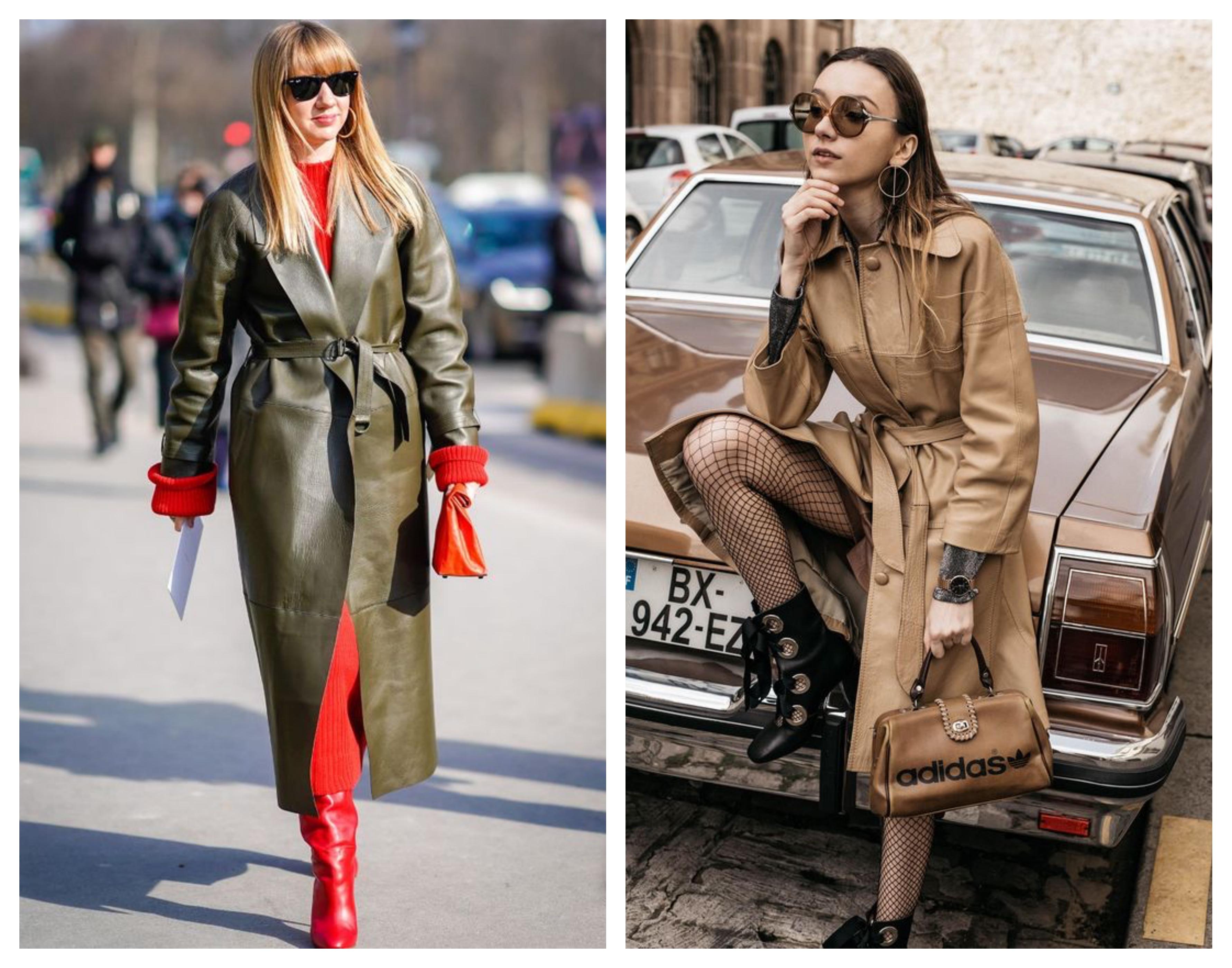 Модное кожаное пальто