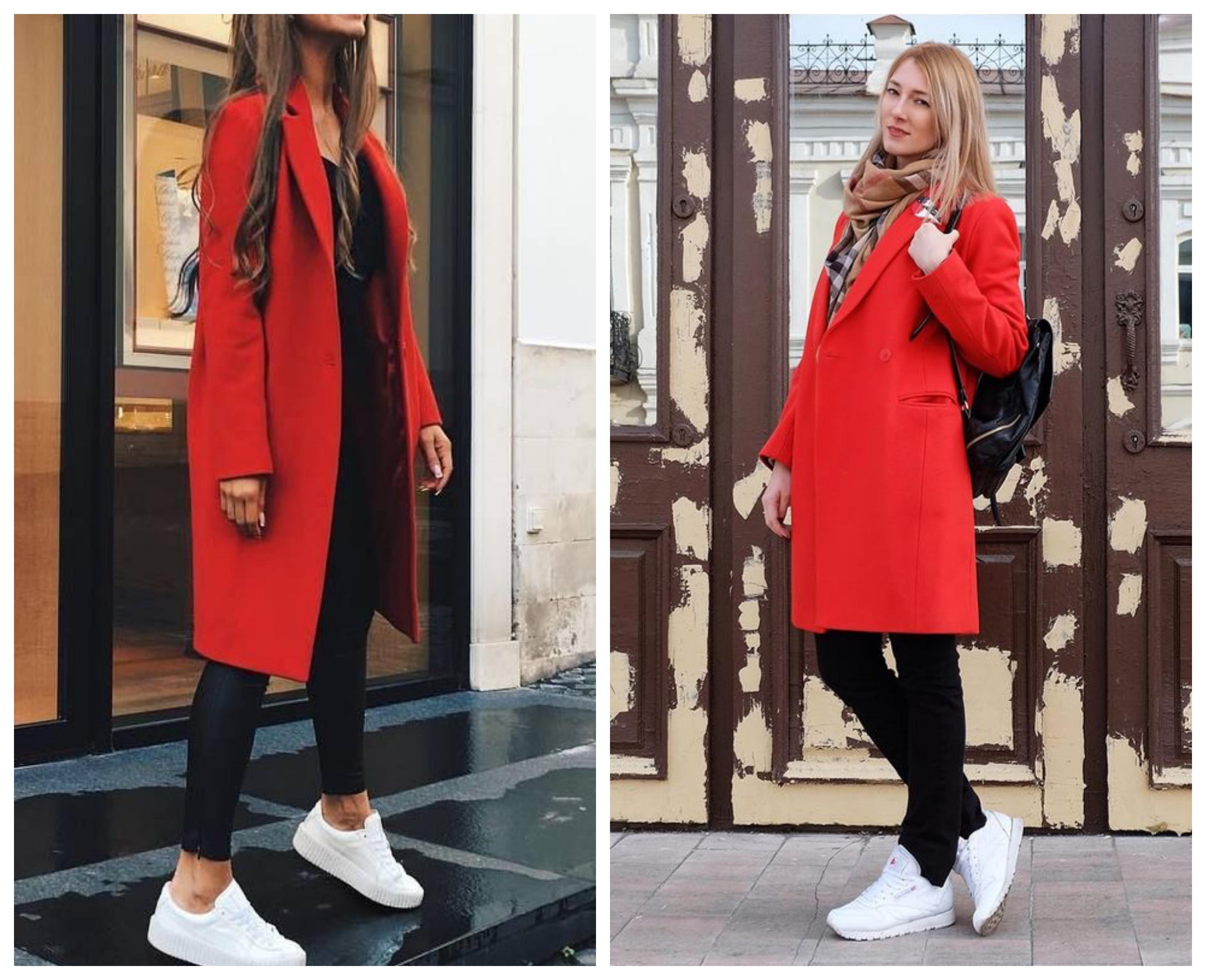 Красное пальто с кроссовками