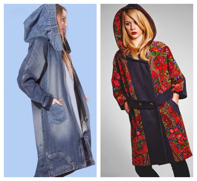 пальто с капюшоном - модный лук