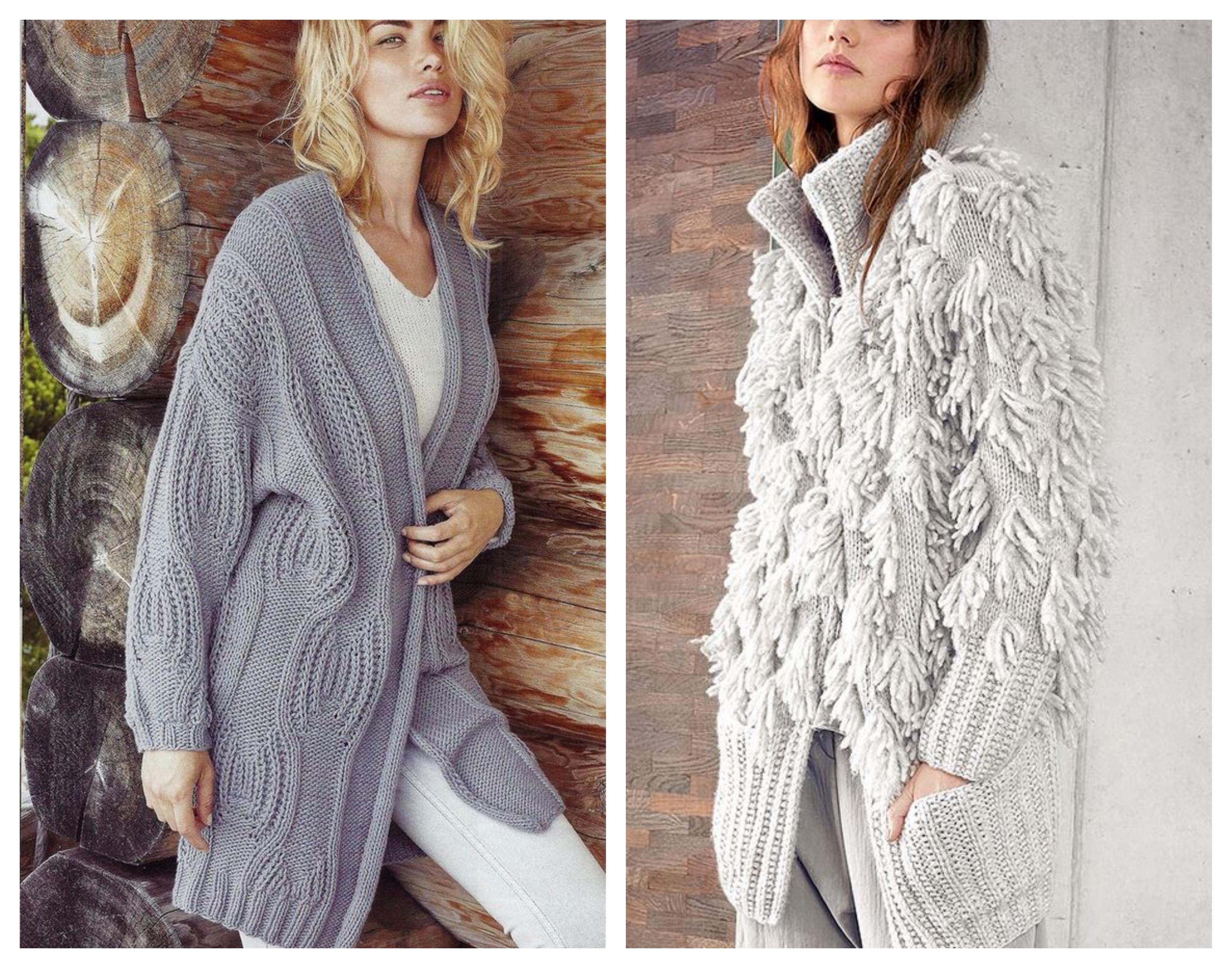 модное вязаное женское пальто