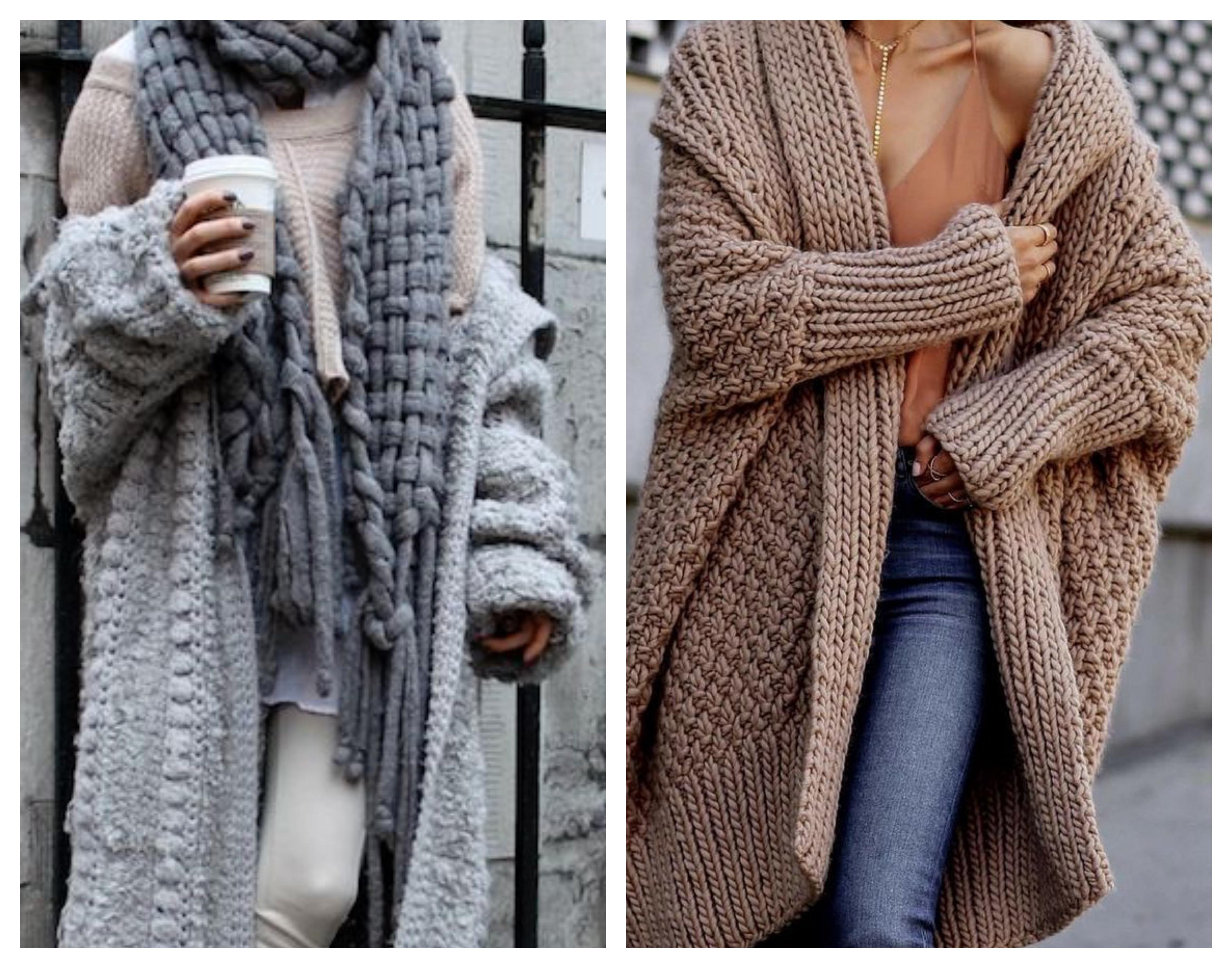 Вязаное пальто - стильный лук