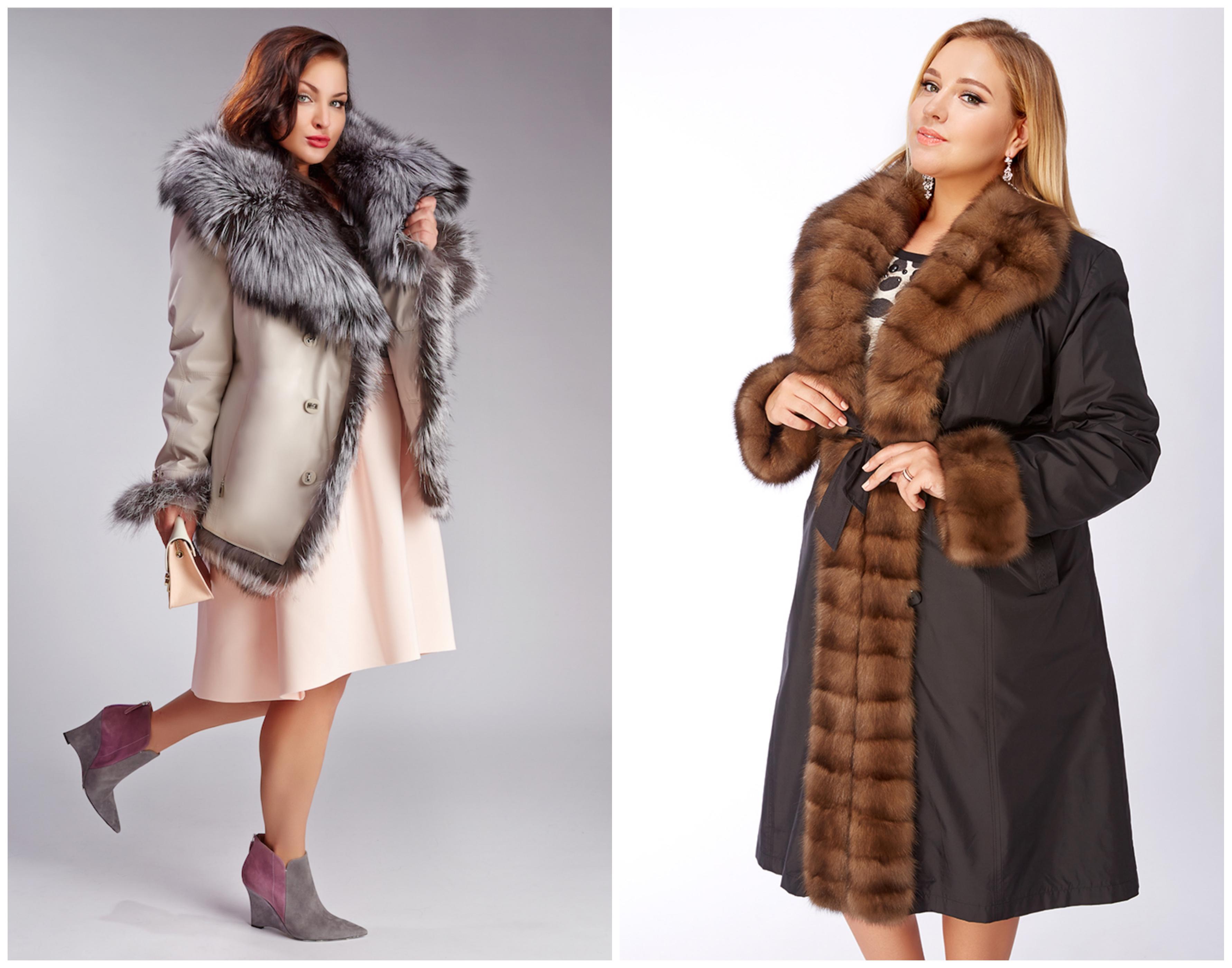 Пальто на меховой подстежке для полных