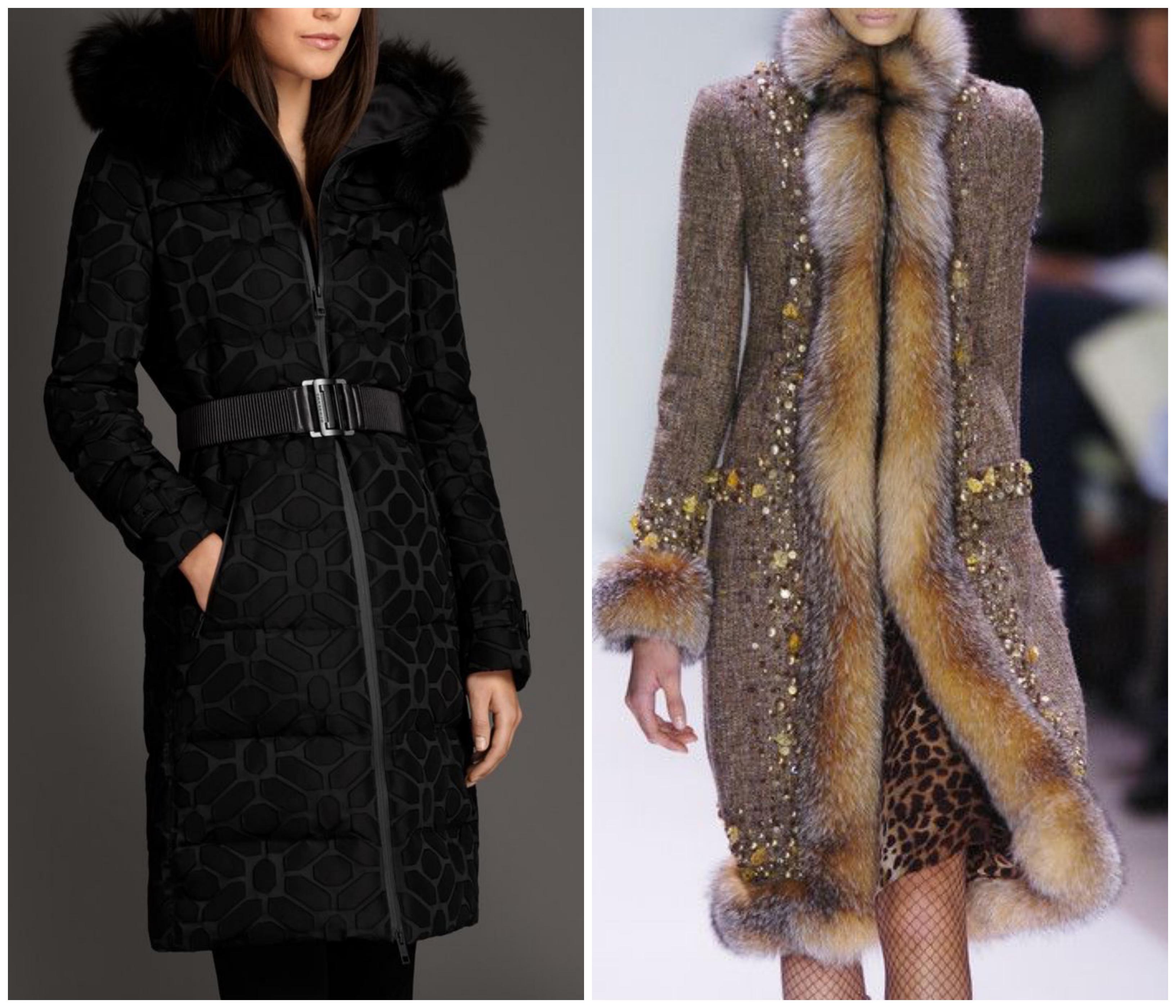Жаккардовое пальто на меховой подстежке