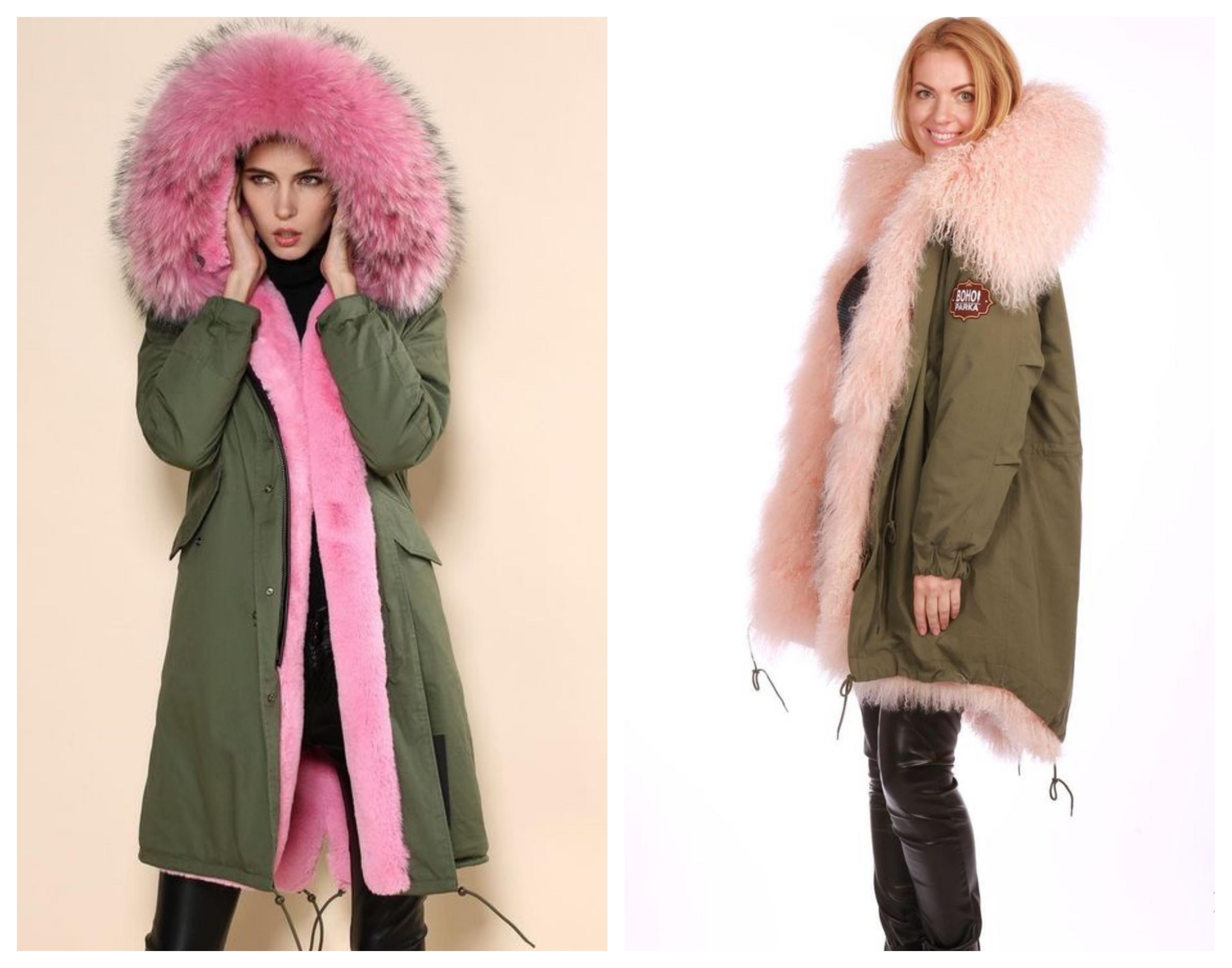 Розовое пальто на меховой подстежке