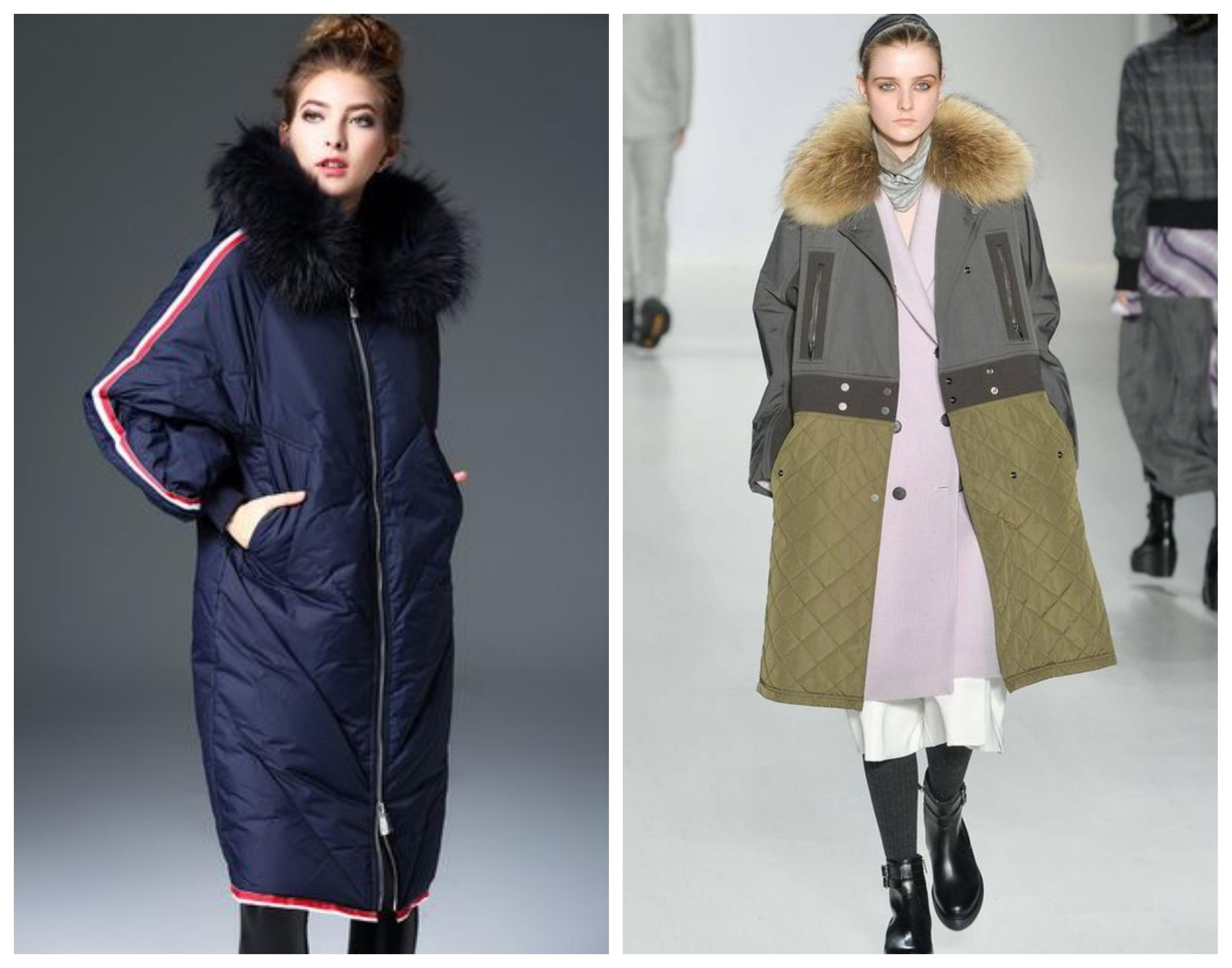 Синтепоновое пальто с мехом