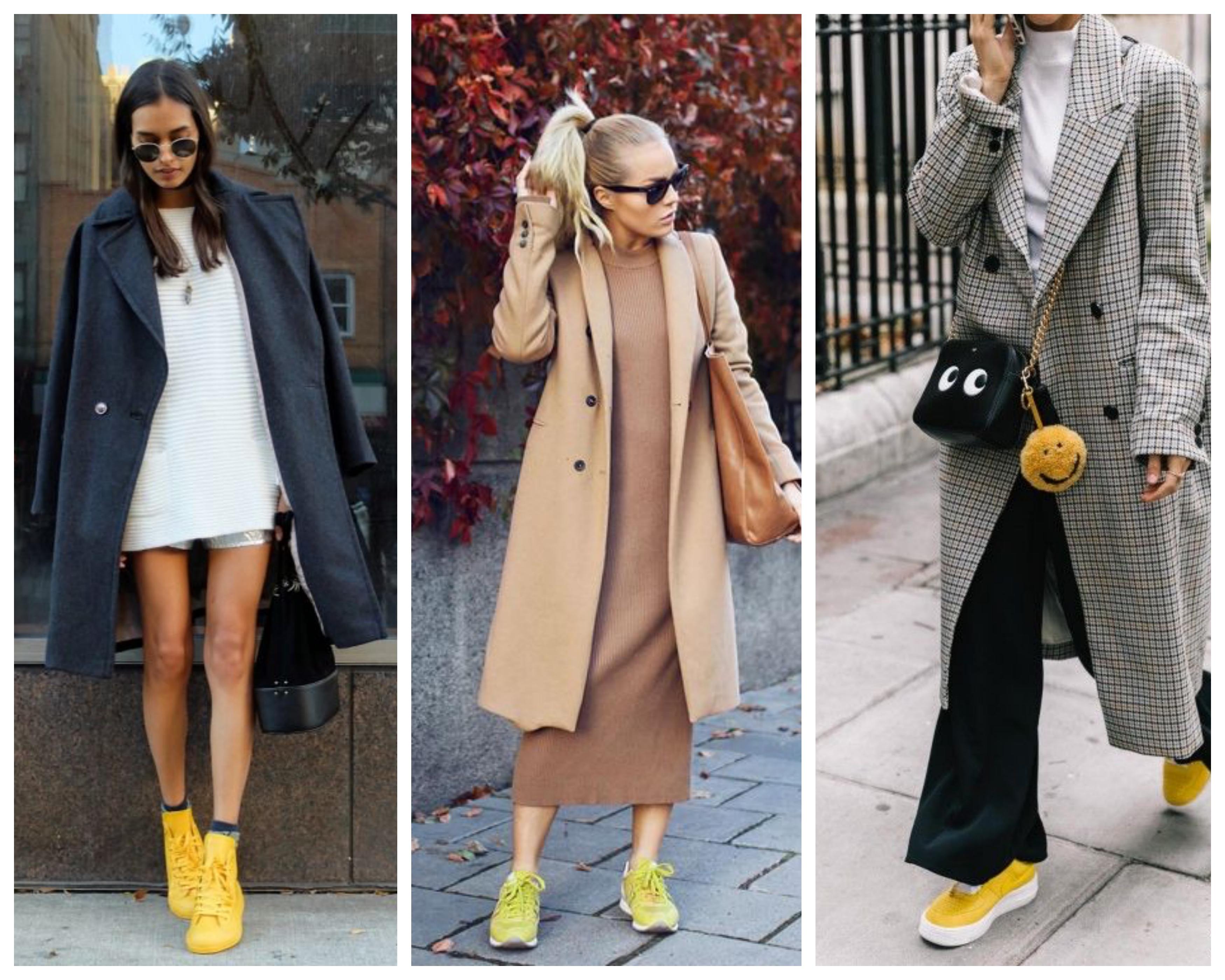 Пальто с желтыми кроссовками