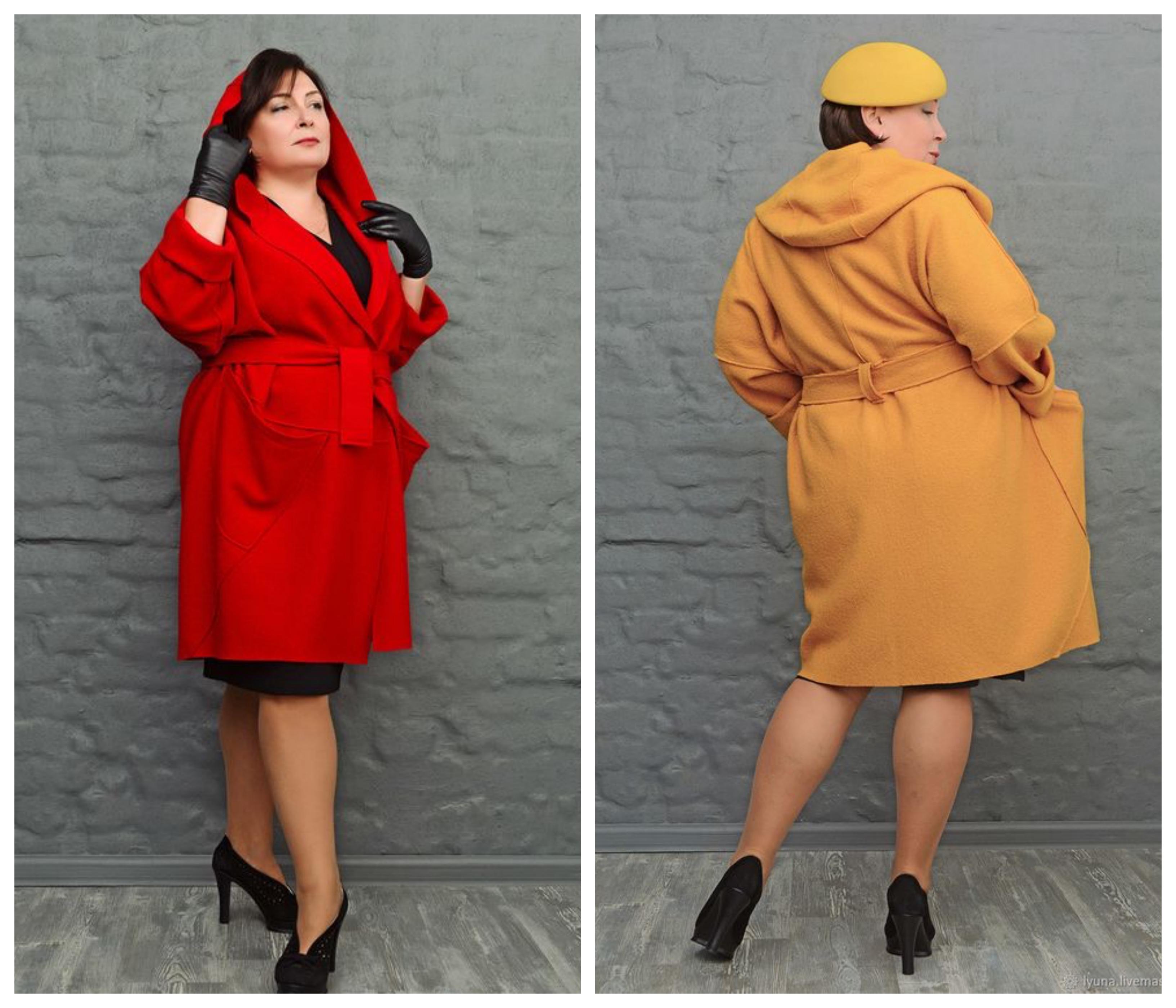 Пальто с капюшоном для полных