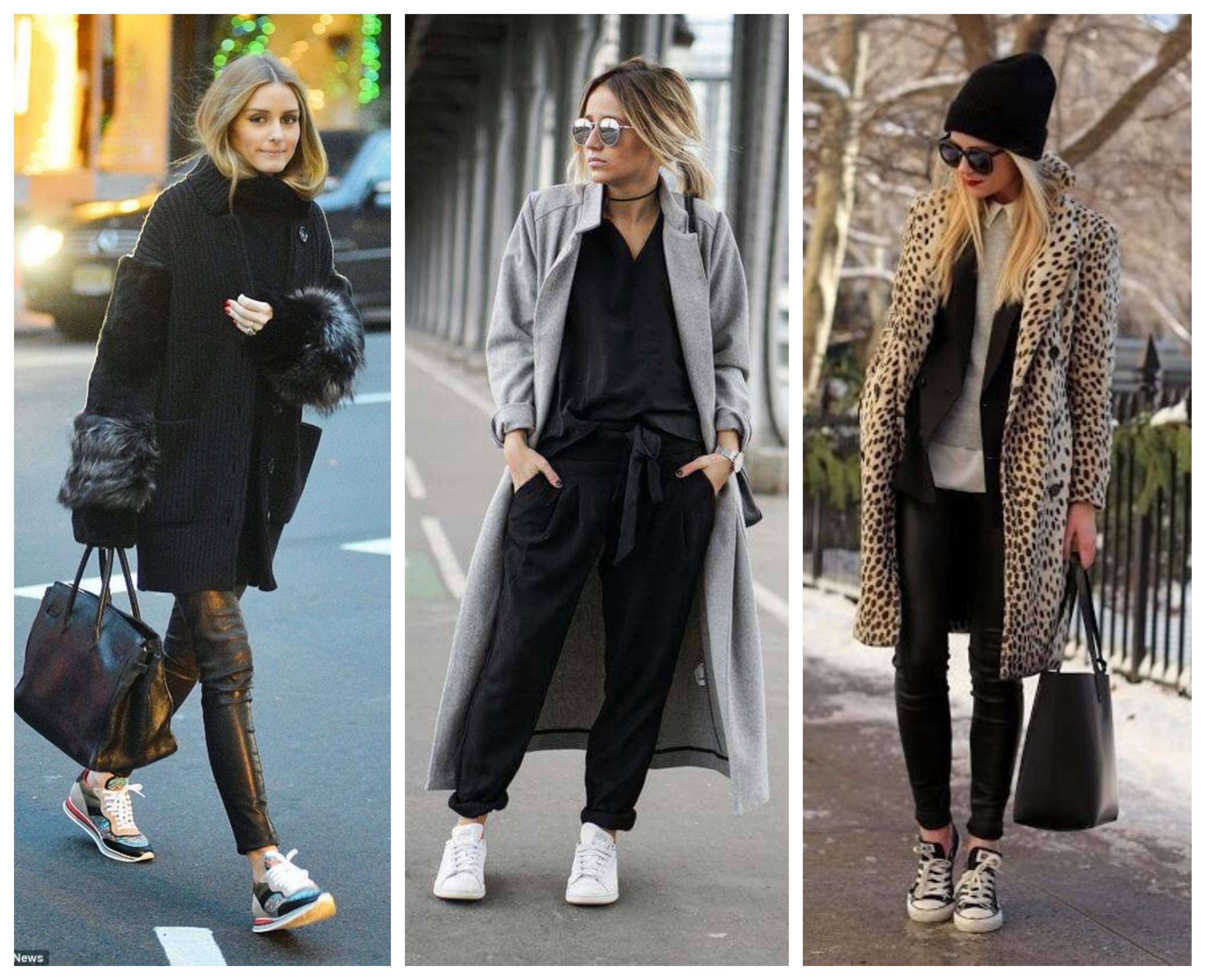 Модный образ пальто с кроссовками