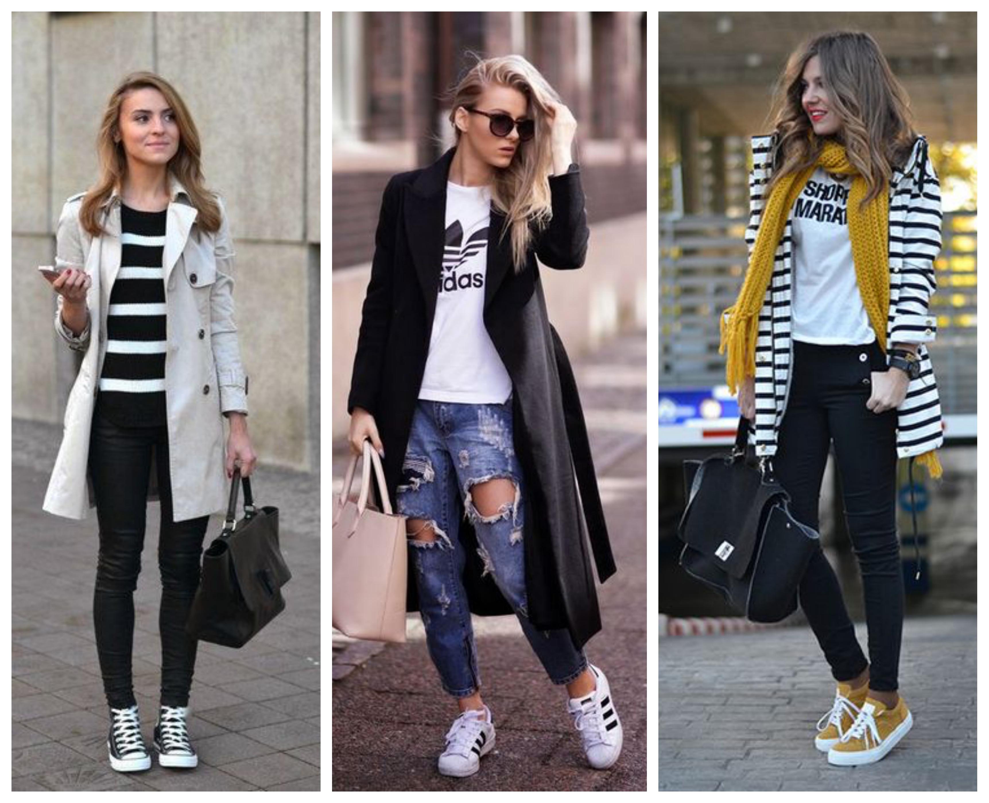 Стильный лук пальто с кроссовками