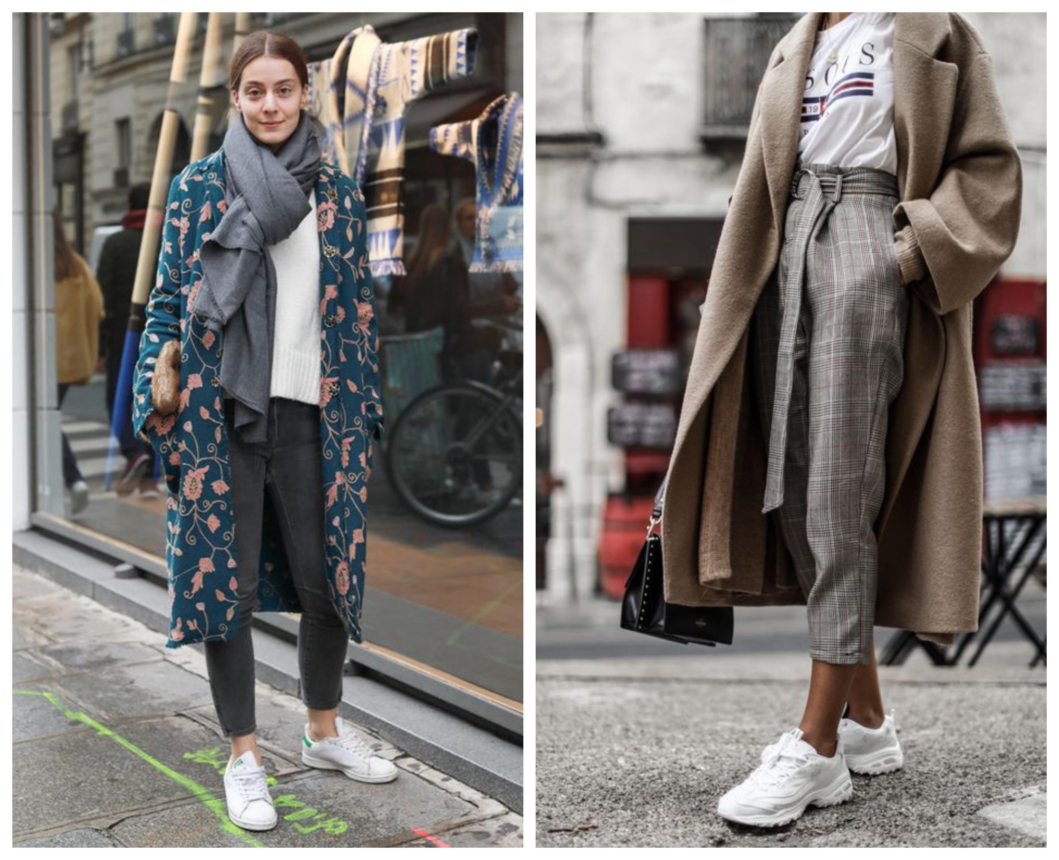 Пальто с кроссовками и брюками