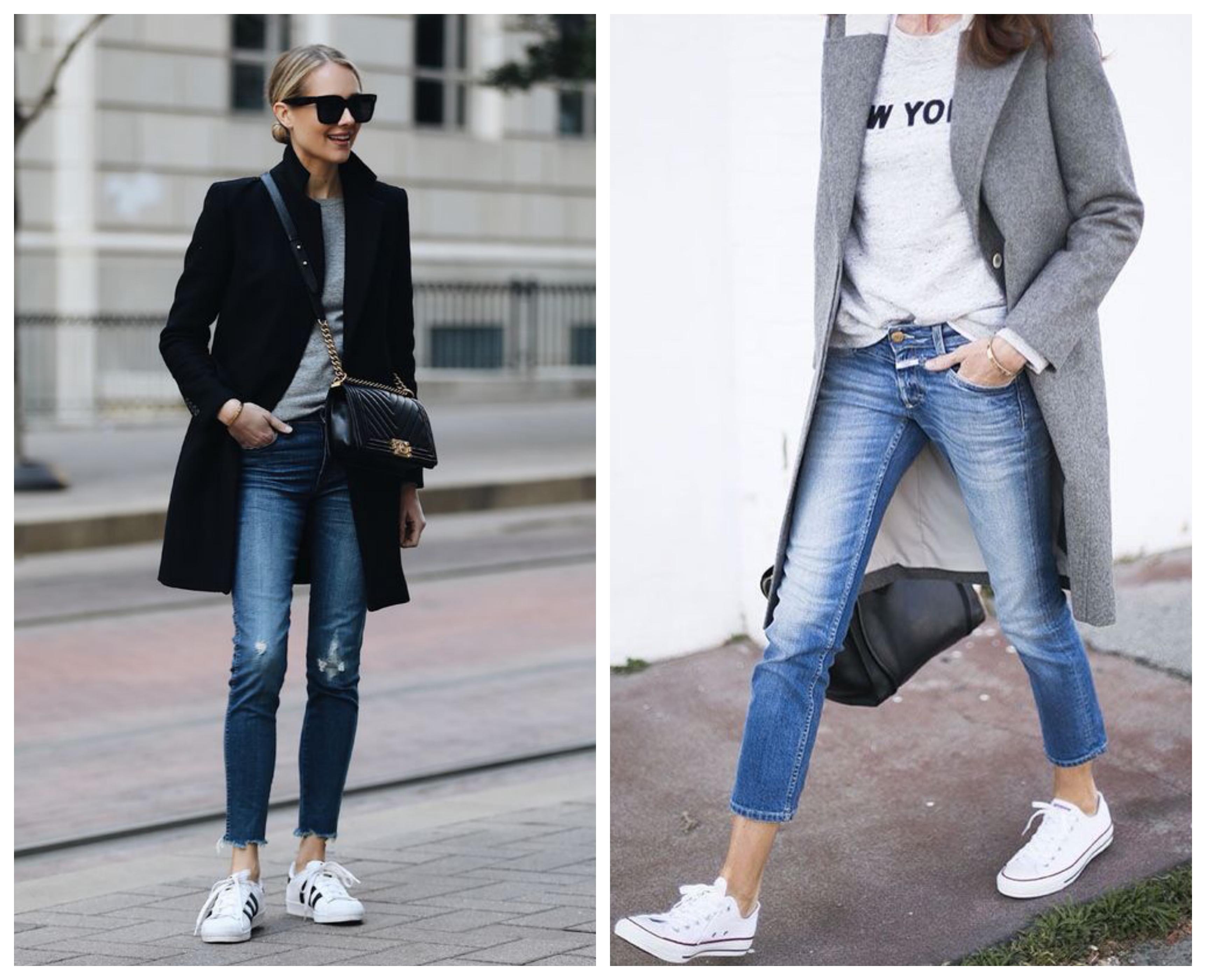 Пальто с кроссовками и джинсами