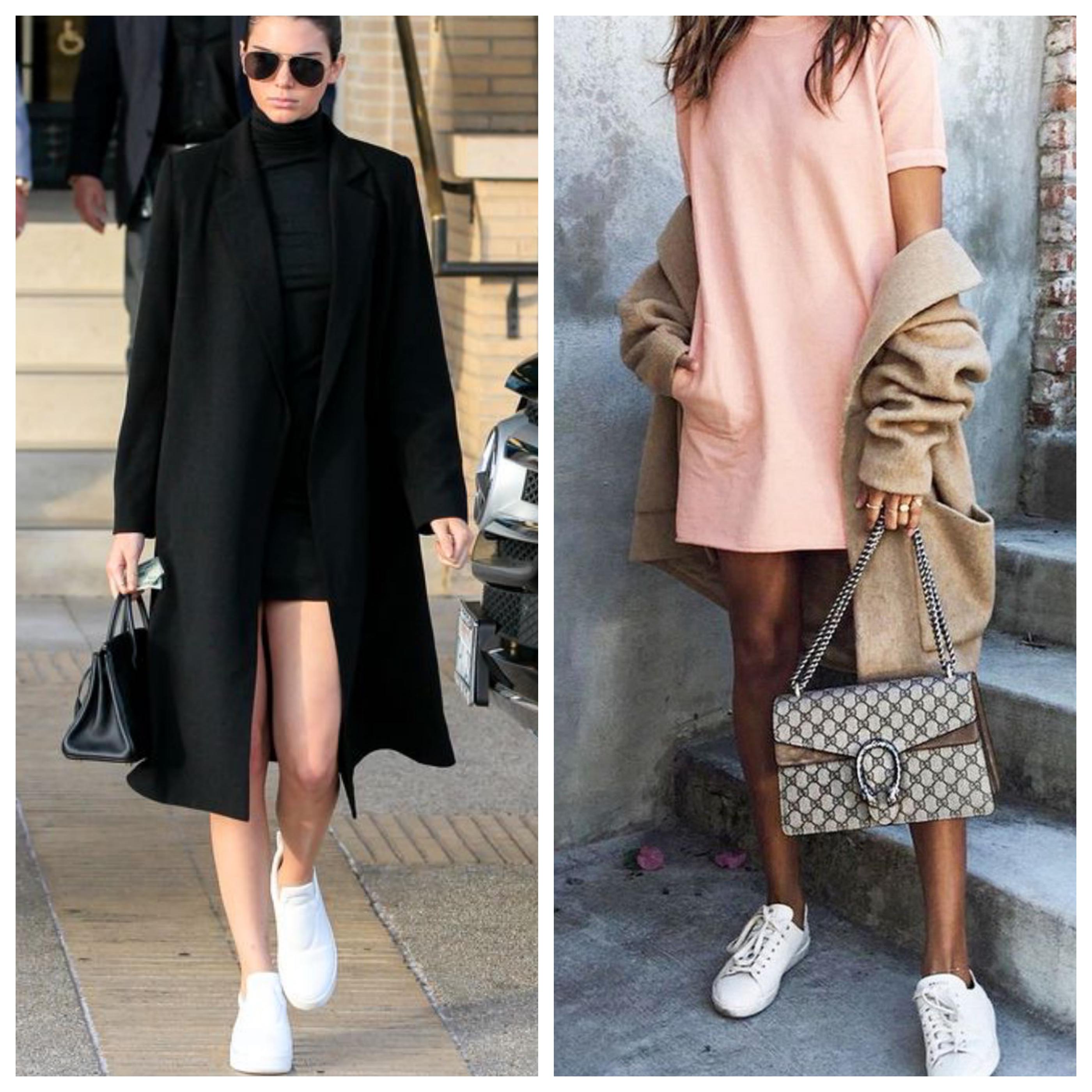 Пальто с кроссовками с платьем или юбкой