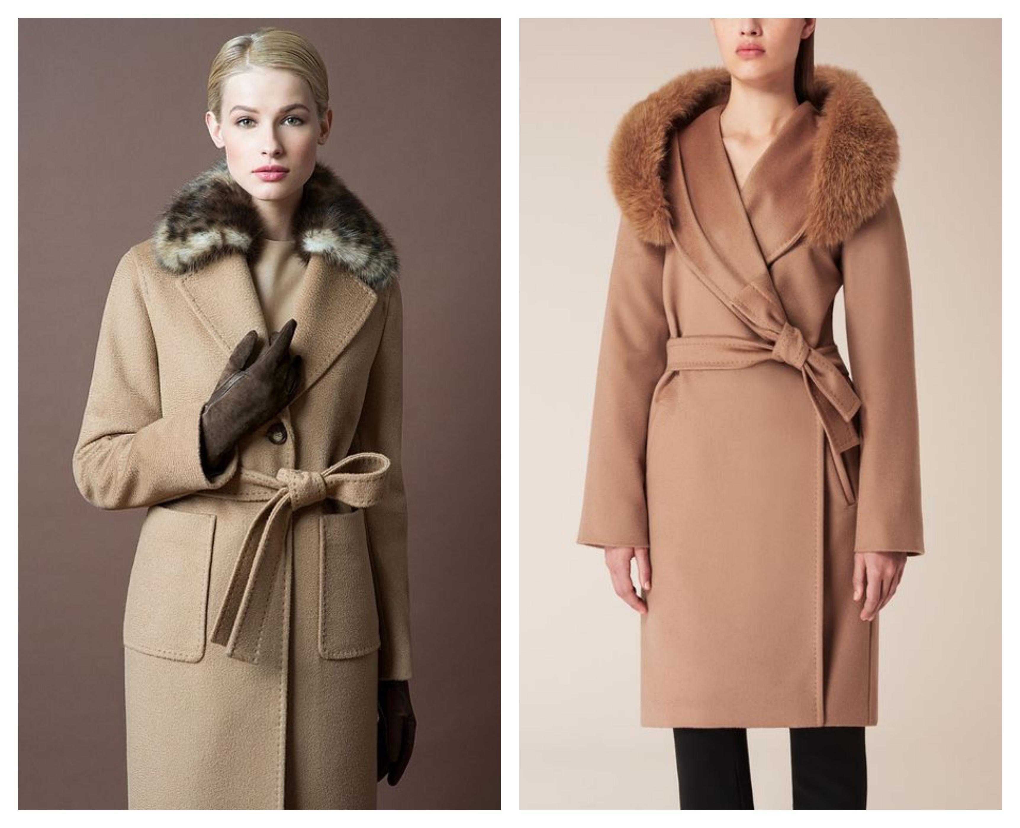 Шерстяное пальто с мехом