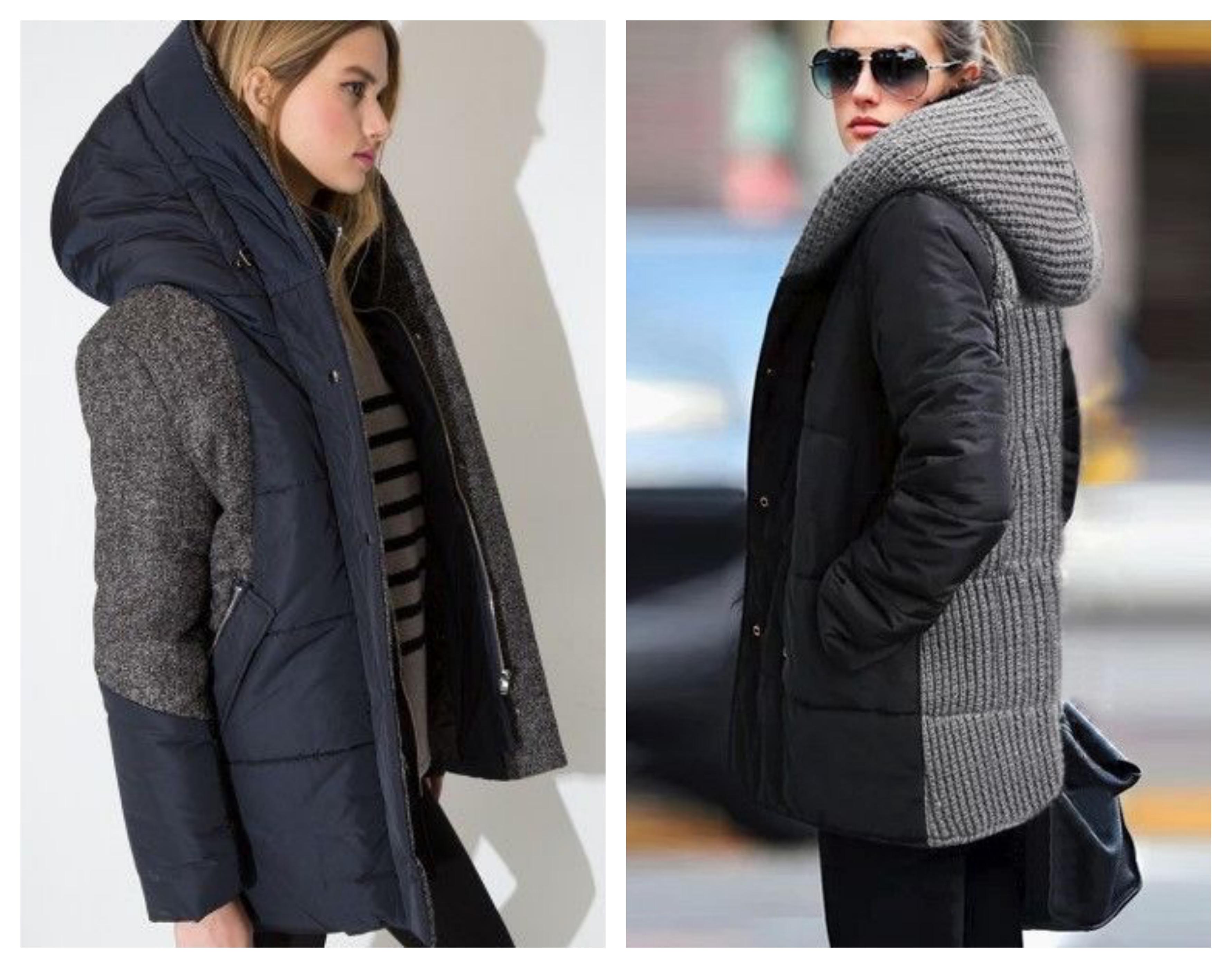 Пуховое текстильное пальто с капюшоном