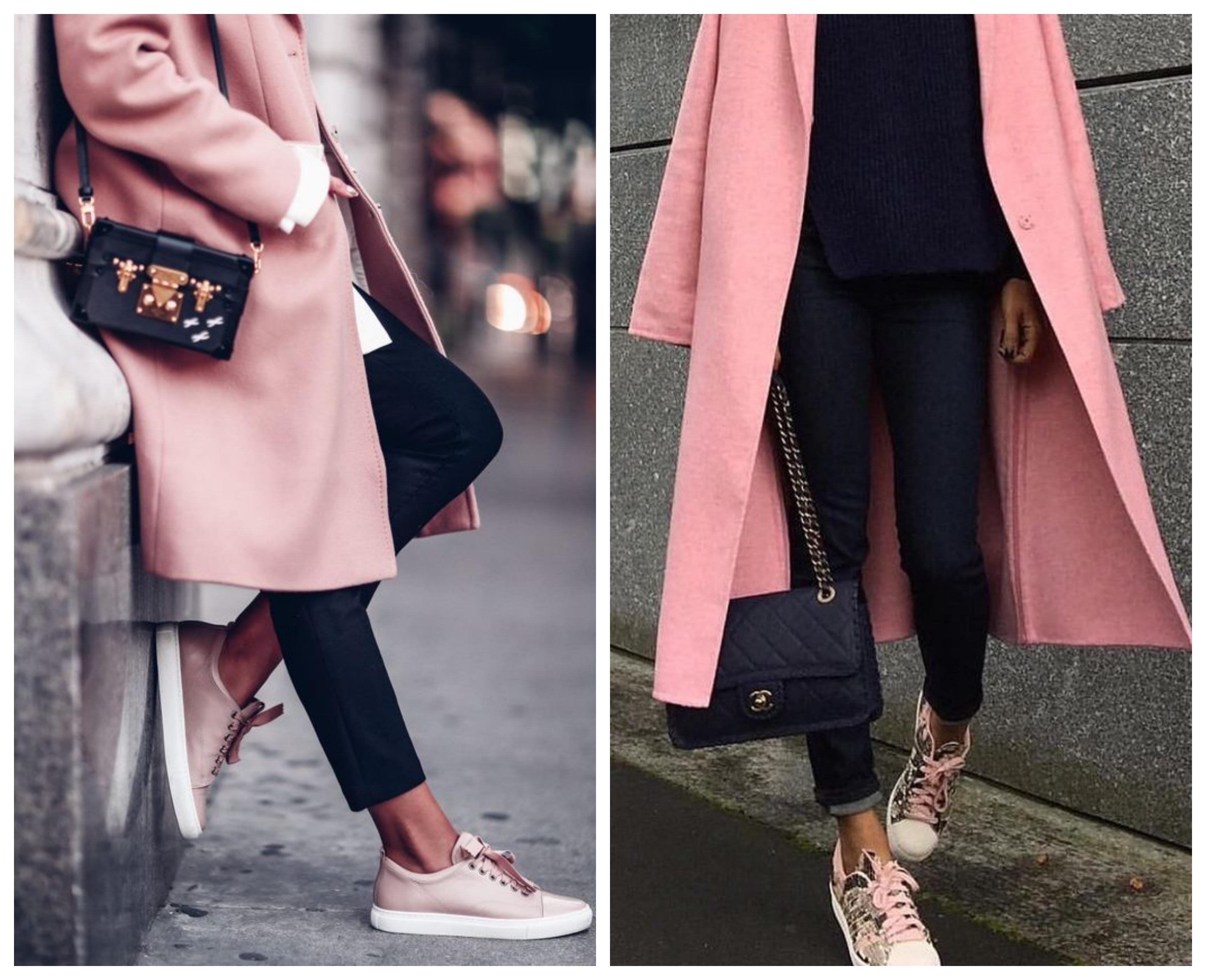 Розовое пальто с кроссовками