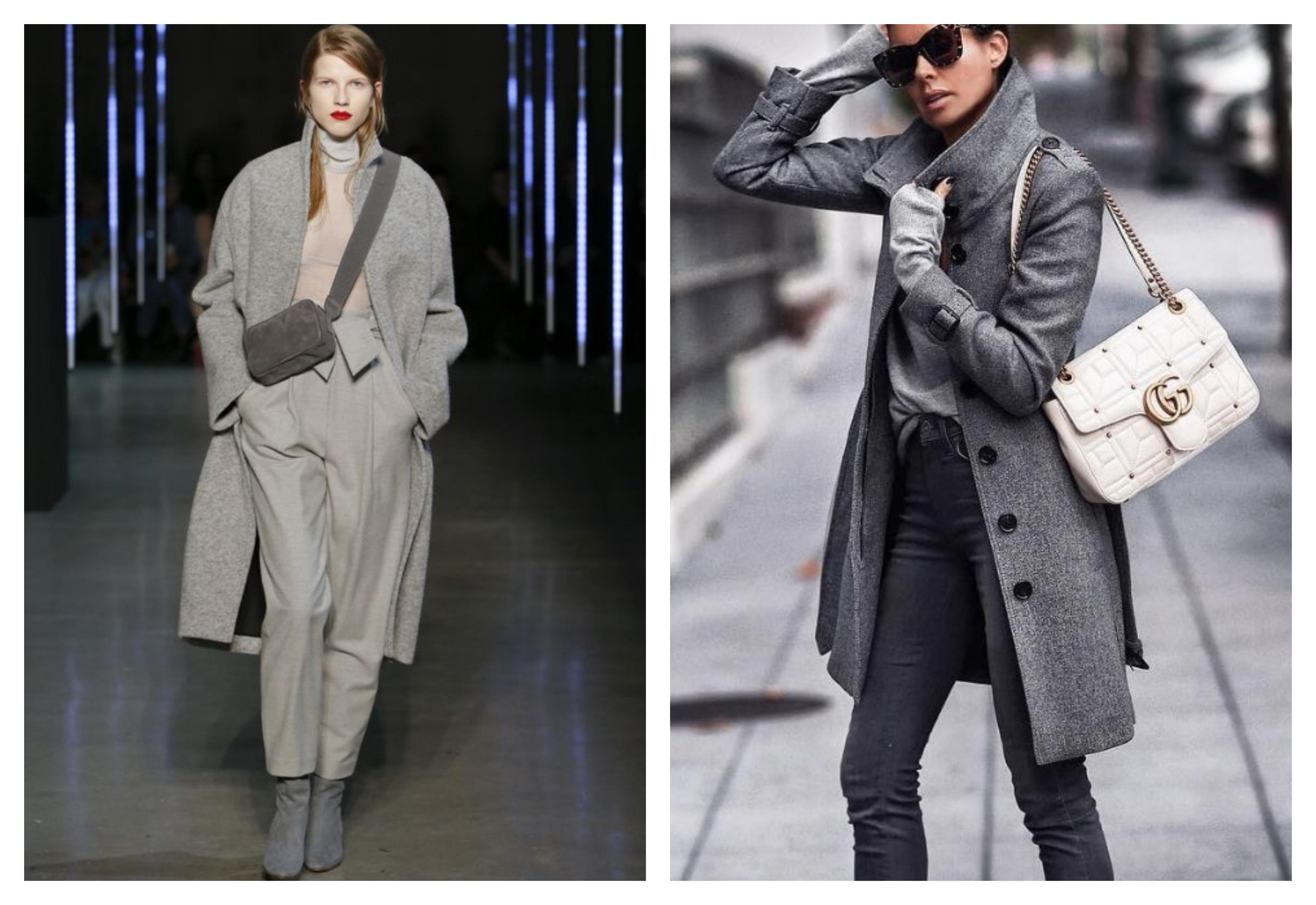 Серое женское пальто 2019