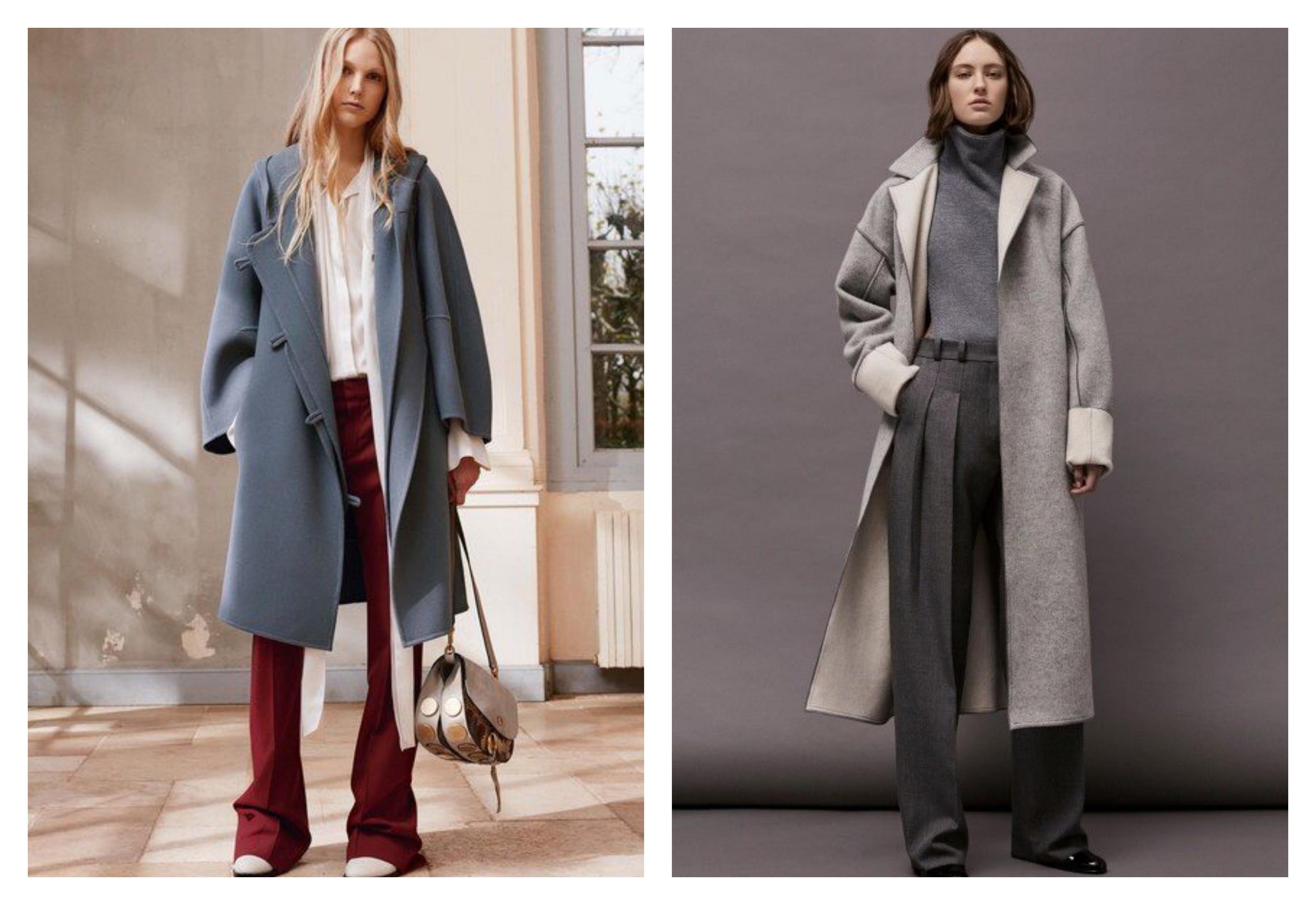 Серое женское пальто разных оттенков