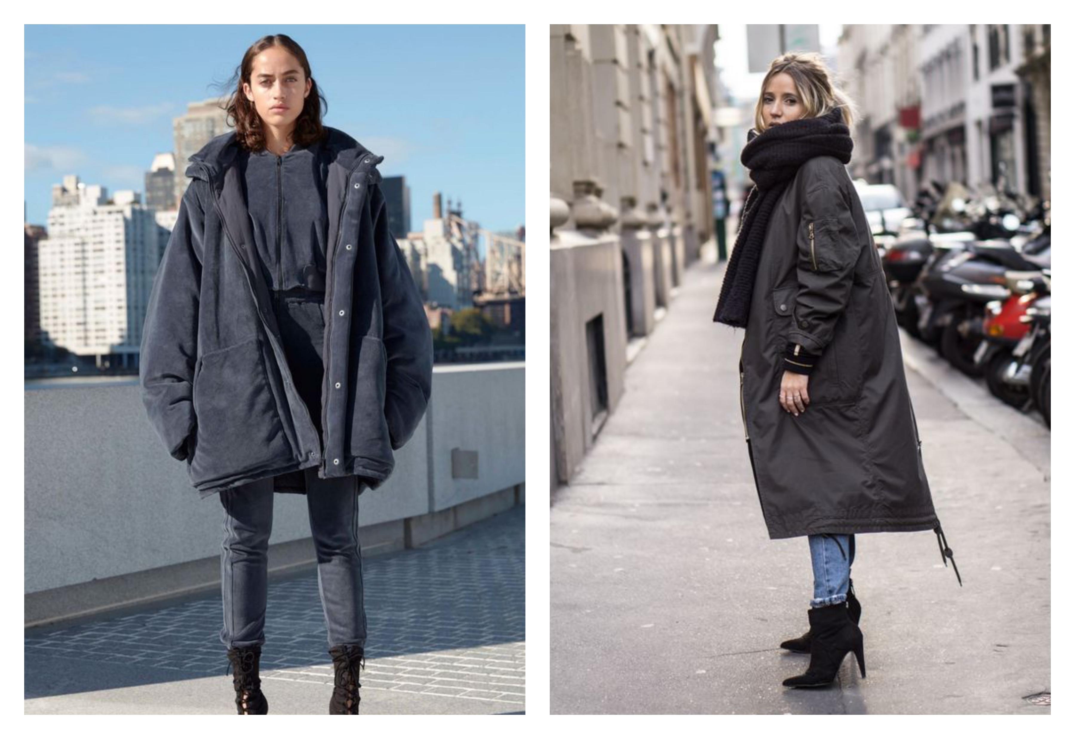 Серое женское пальто-пуховик