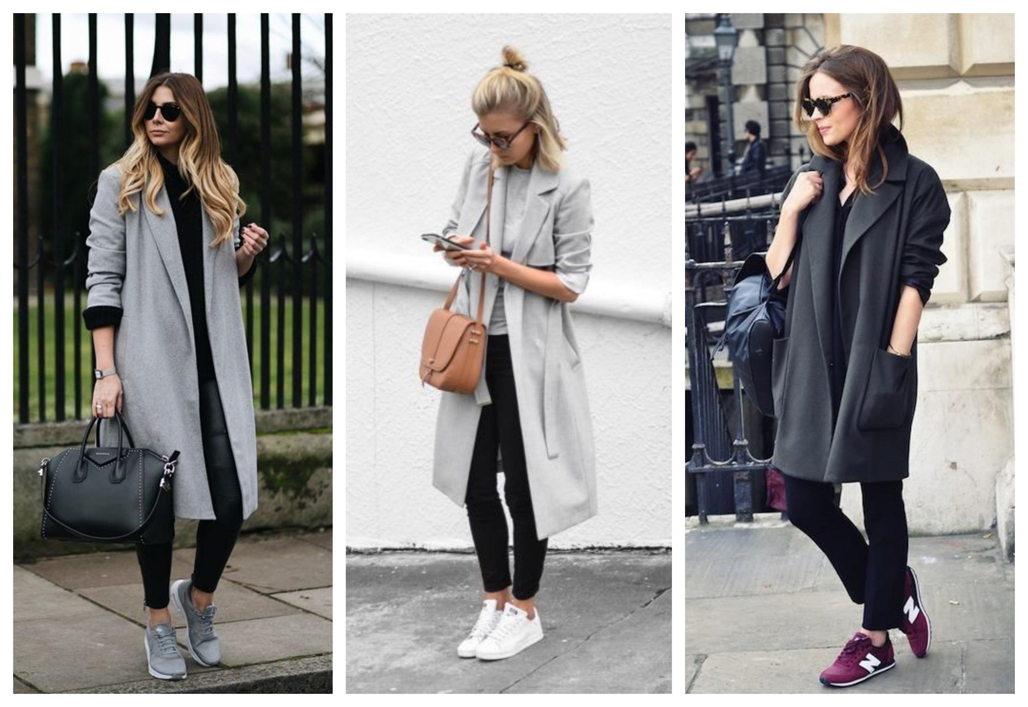 Серое женское пальто с кроссовками