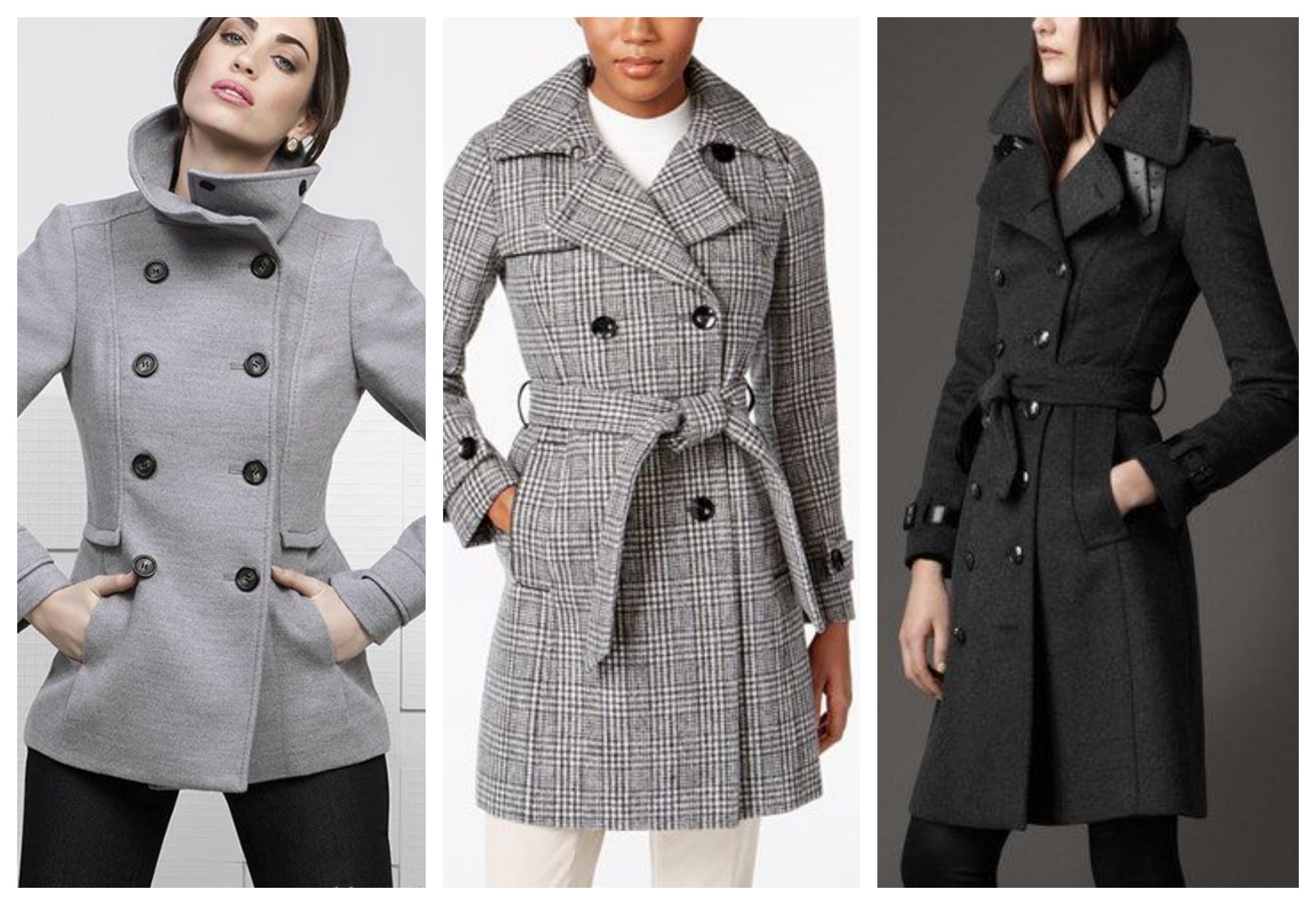 Серое женское пальто бушлат