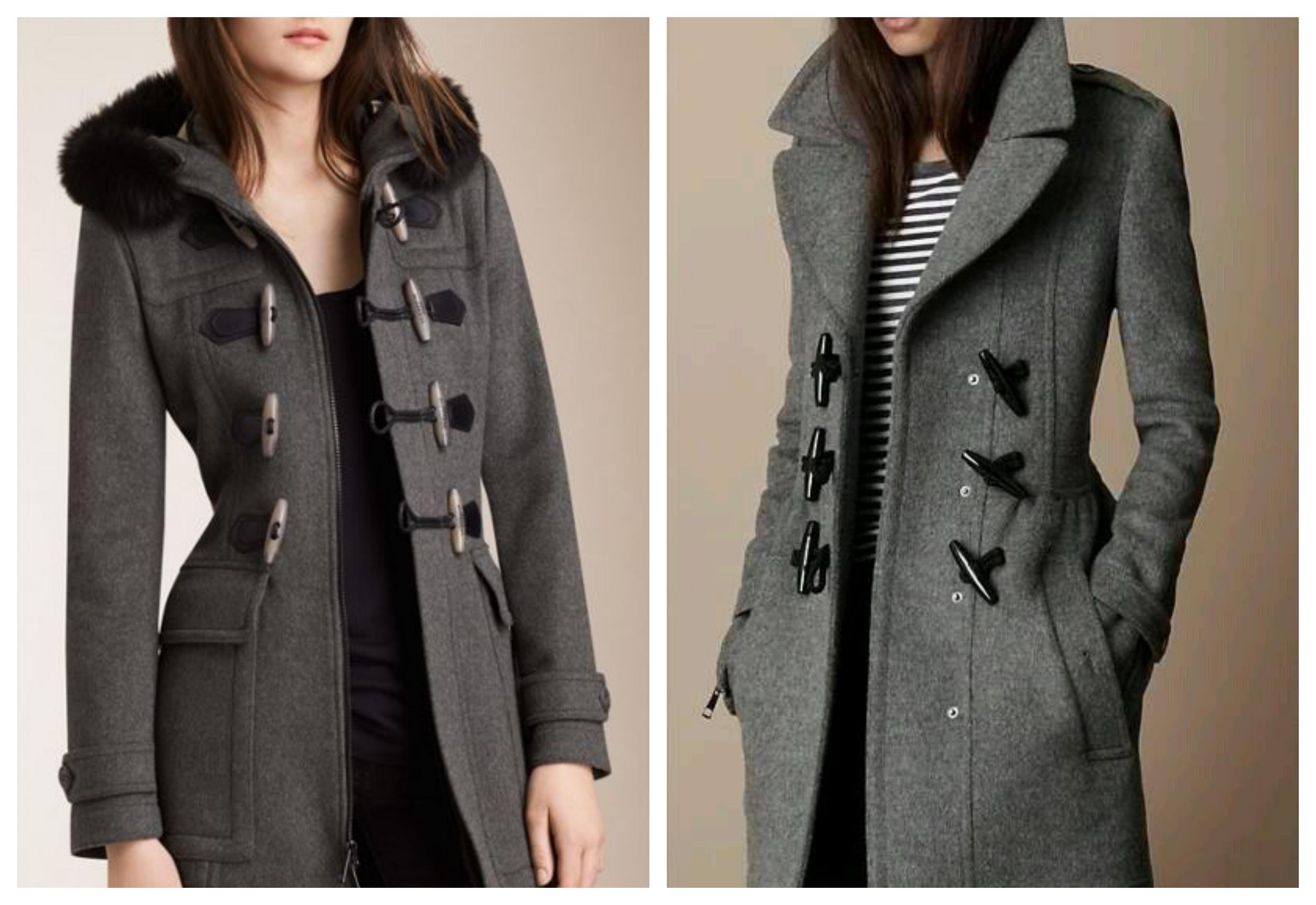 Серое женское пальто дафлкот