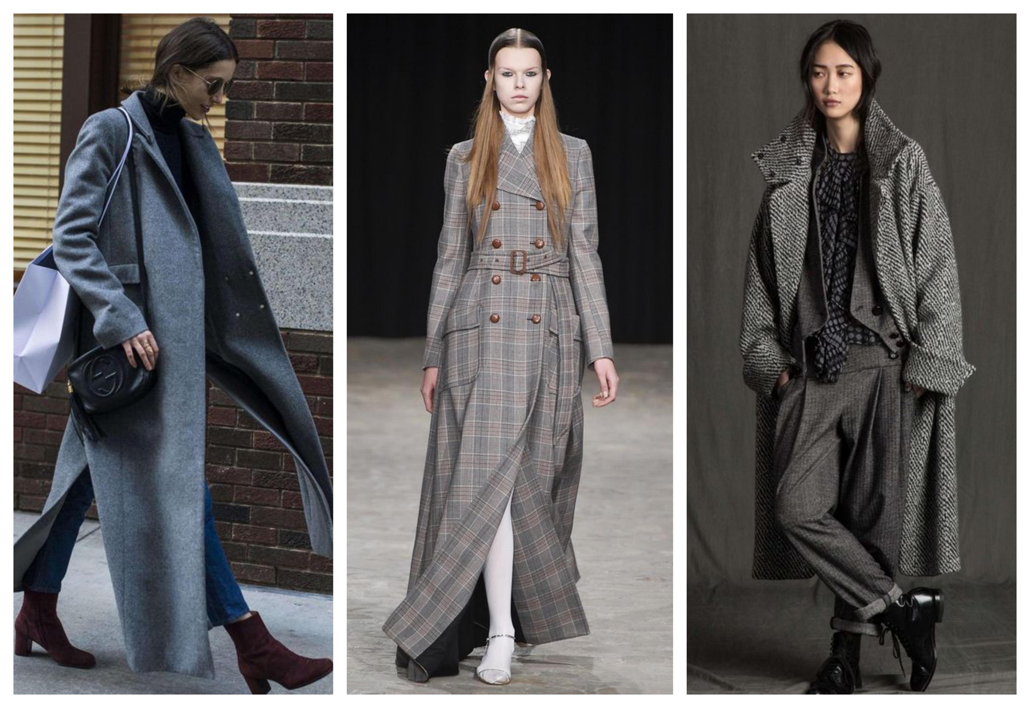Серое женское пальто в пол