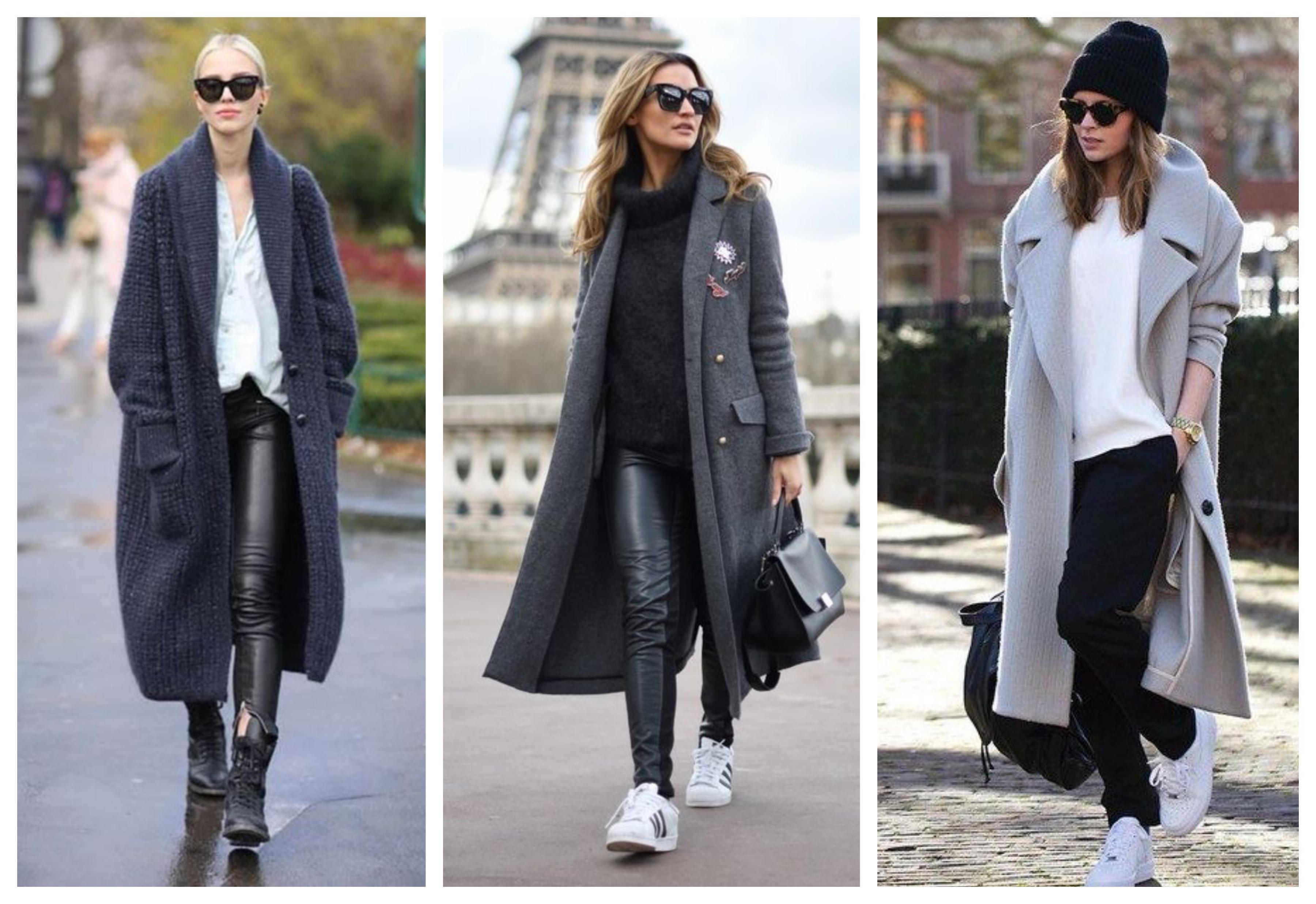 Серое женское длинное пальто