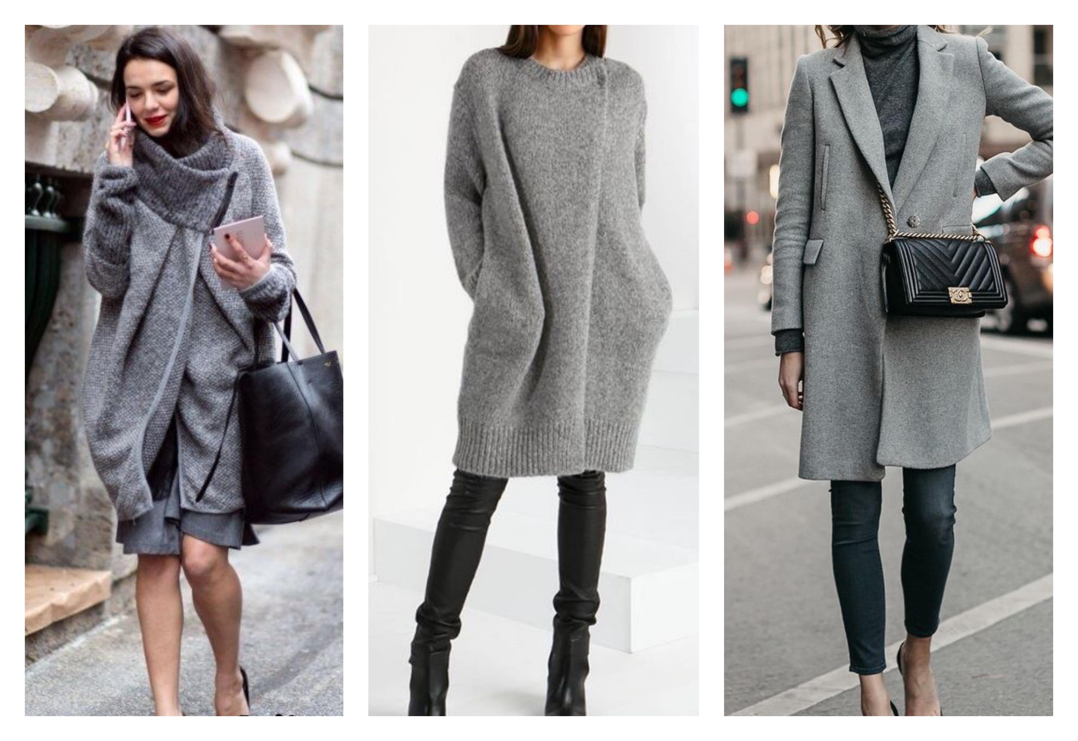 Серое женское пальто до колен