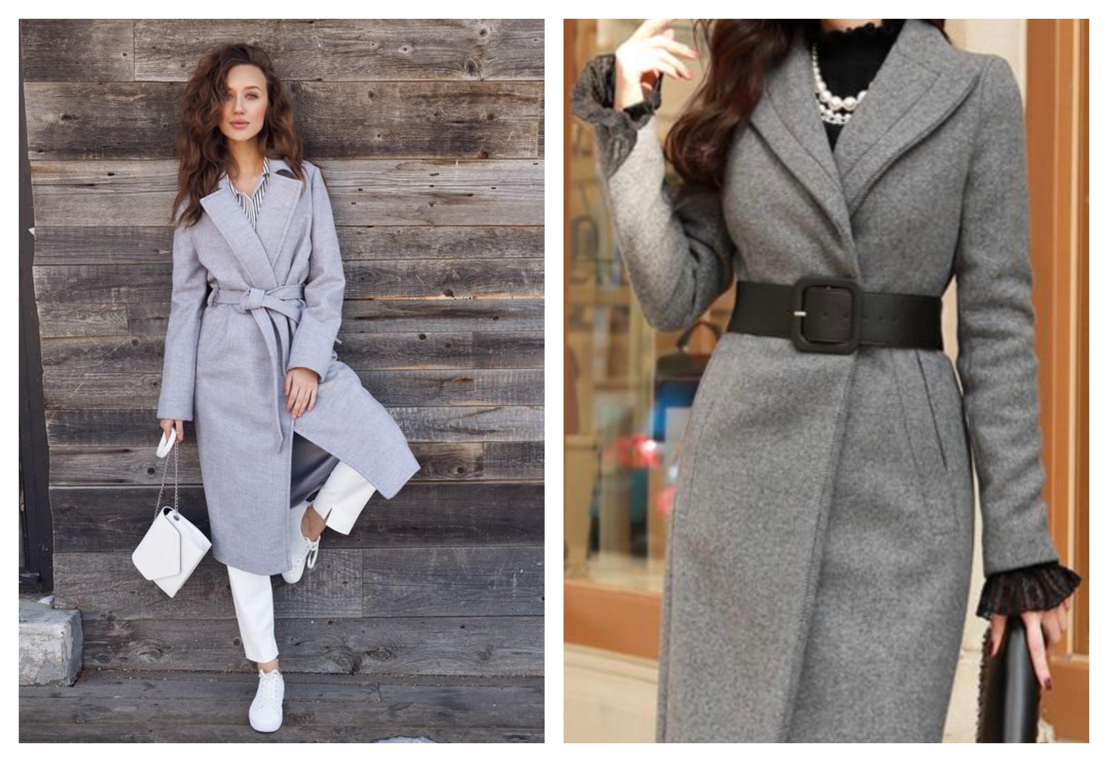 Серое женское пальто-халат