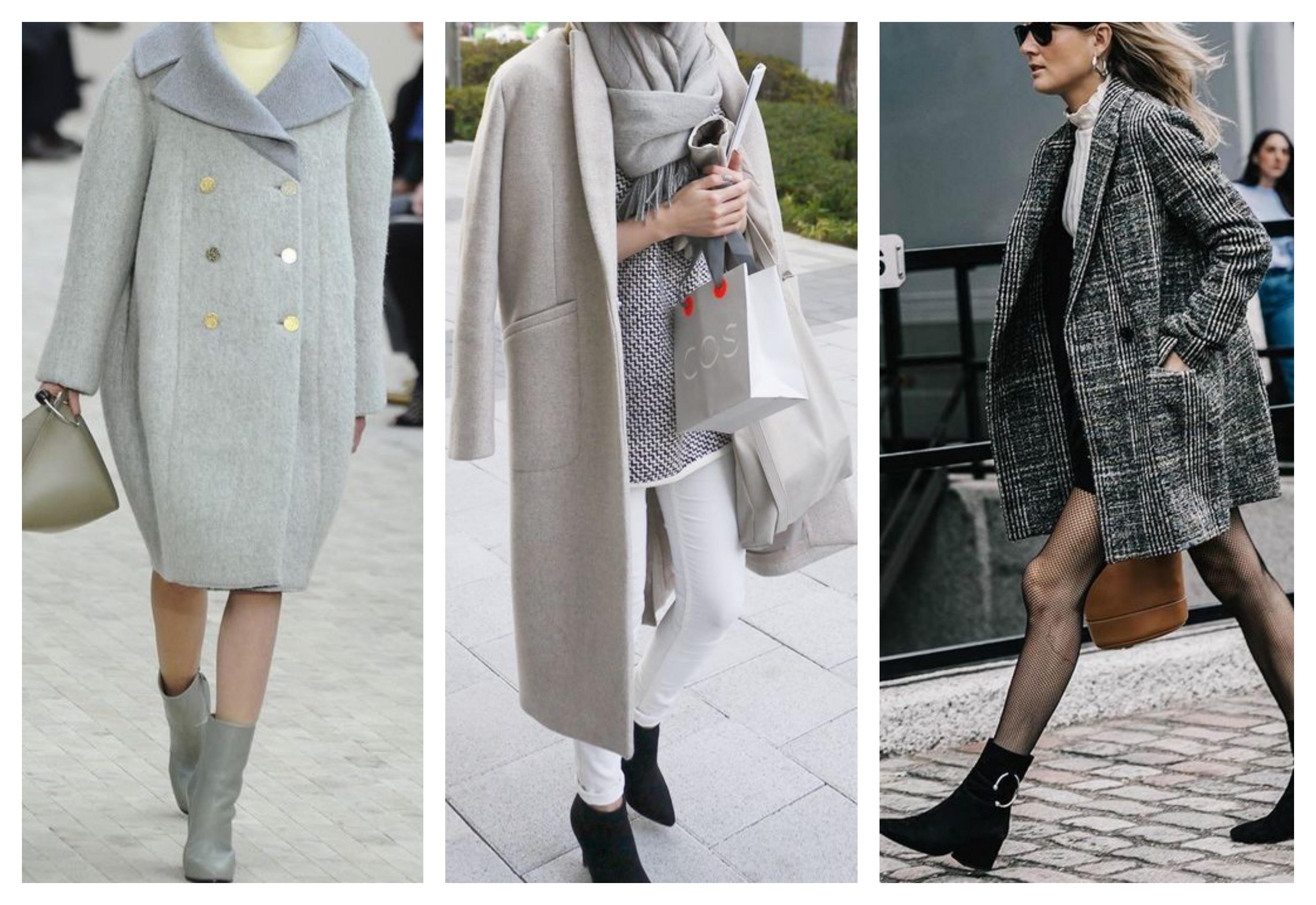 Серое женское пальто с батильонами