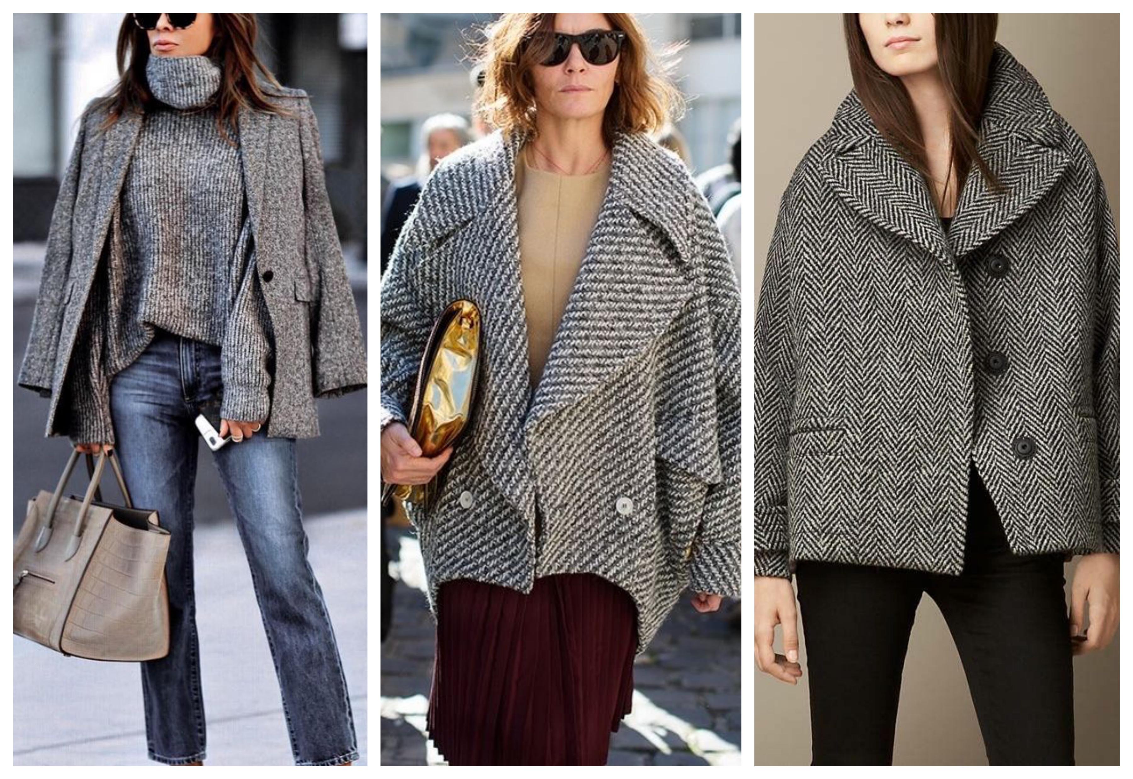 Серое женское короткое пальто