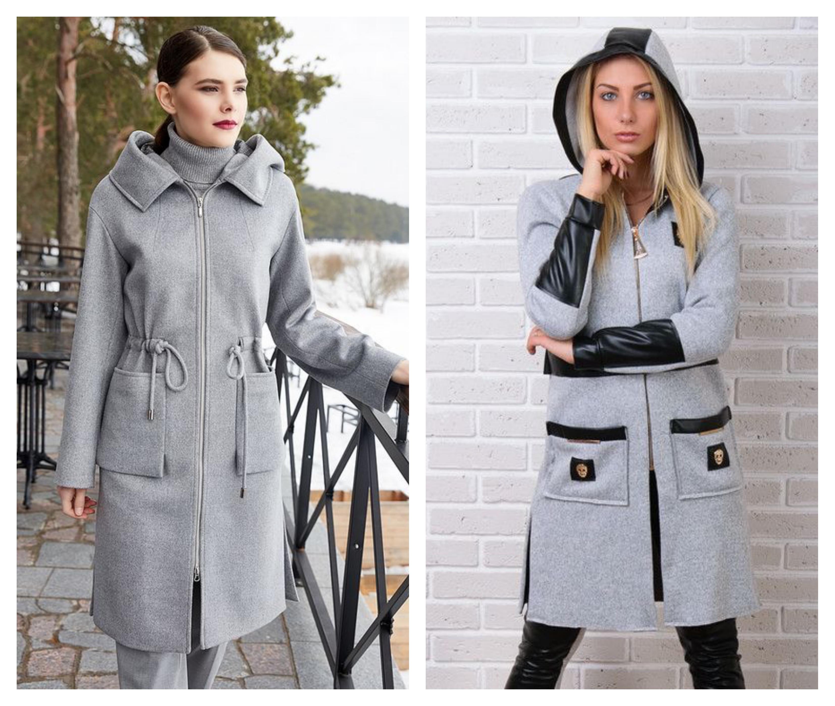 Серое женское пальто на молнии