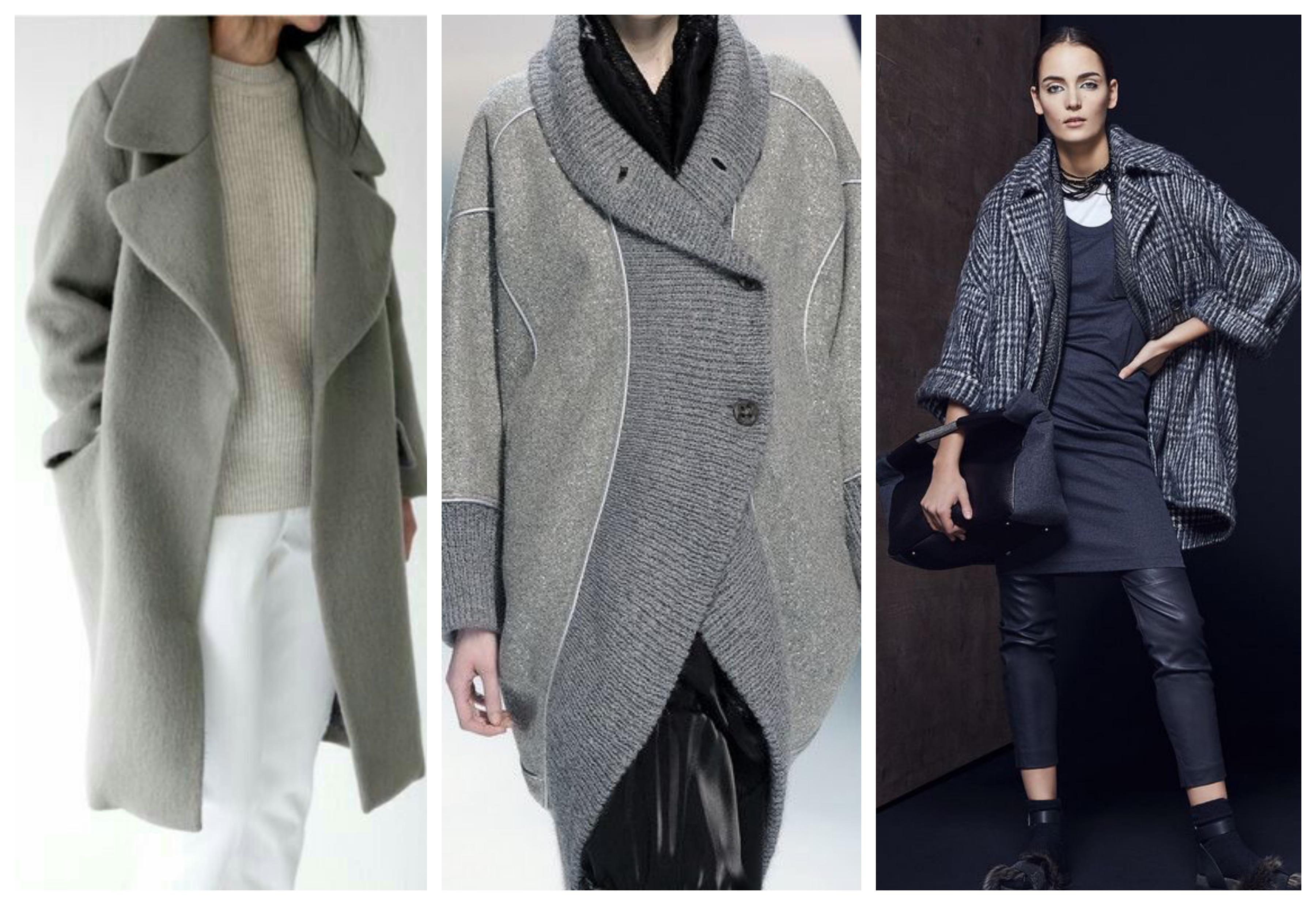 Серое женское пальто оверсайз