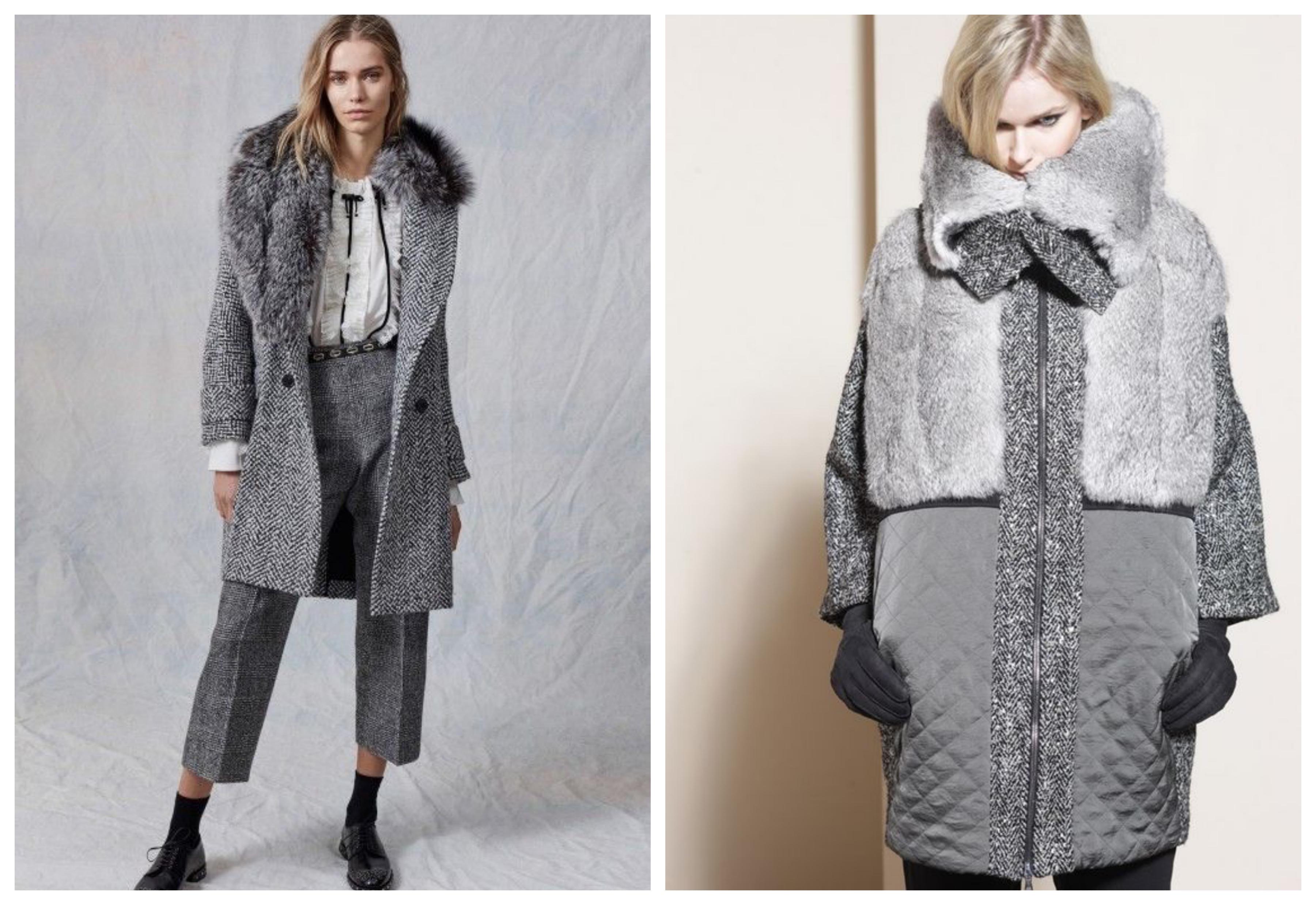 Серое женское пальто с мехом