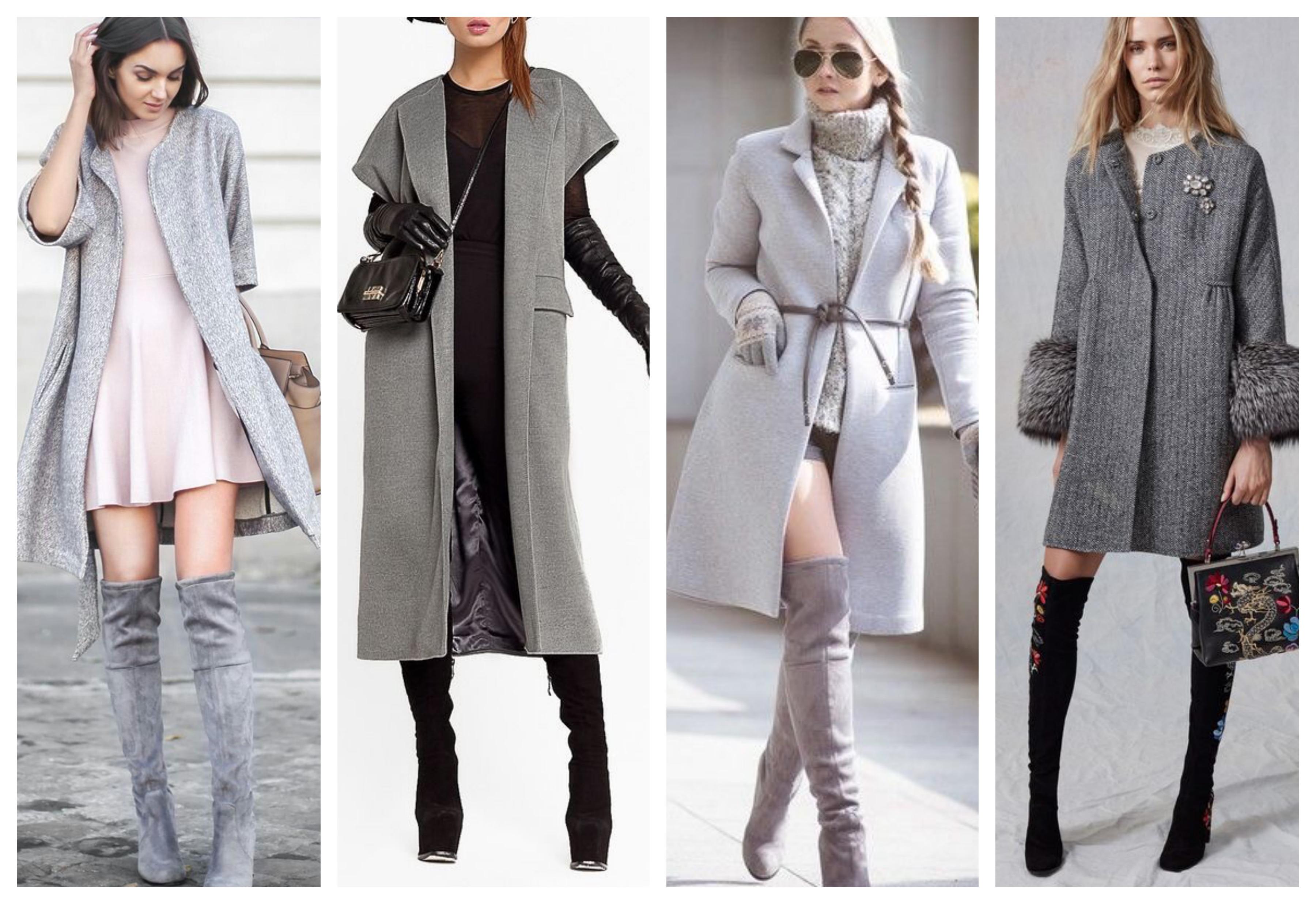 Серое женское пальто с высокими сапогами