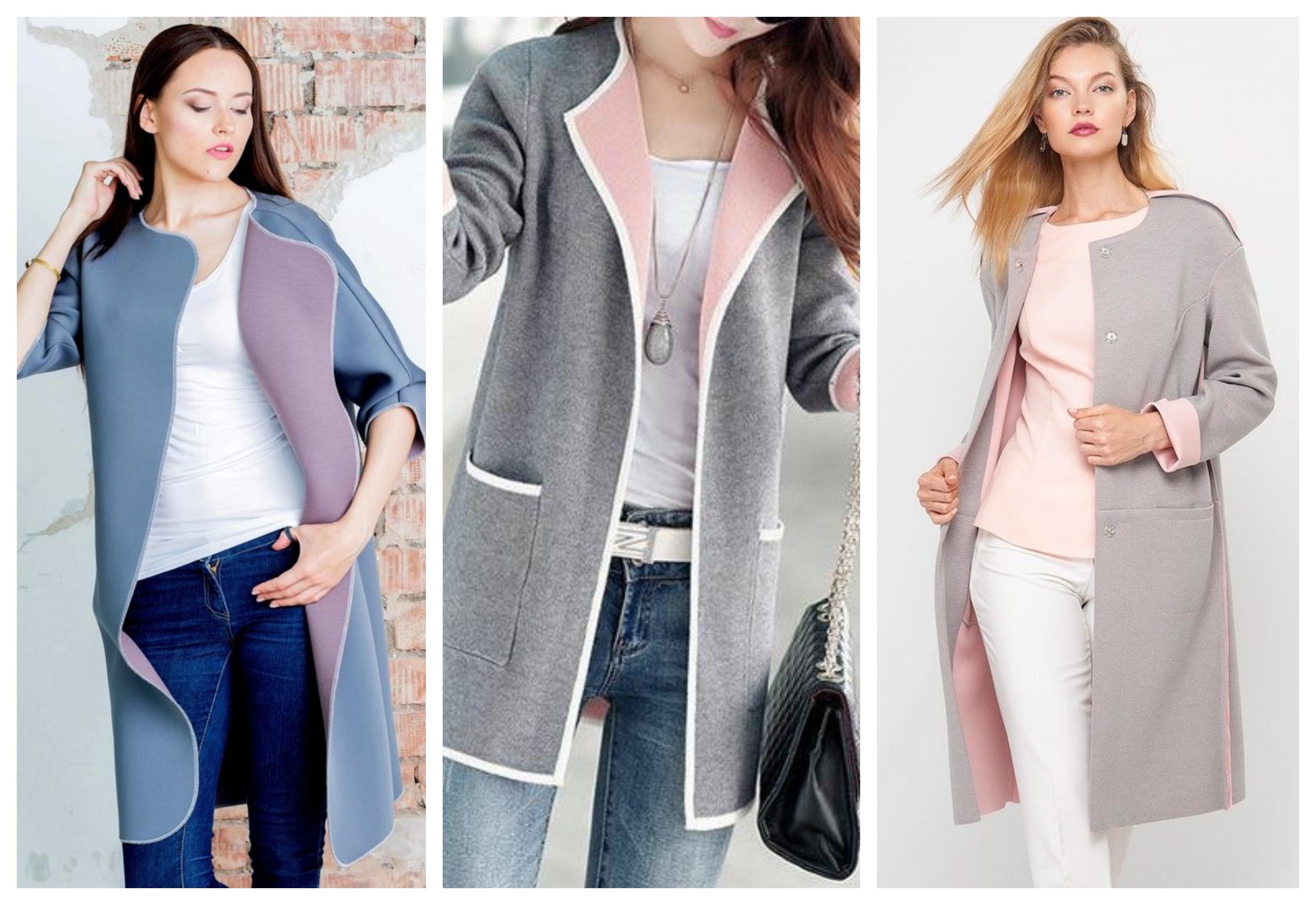 Серо-розовое женское пальто